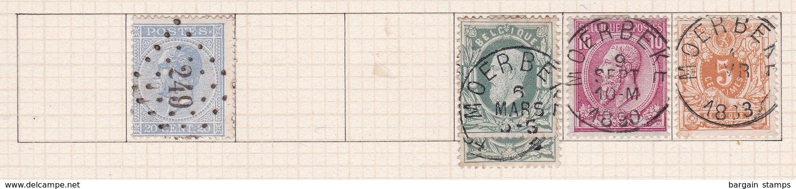 Belgique COB 18 30(x2) 46 28 Oblitérés Moerbeke - Belgique