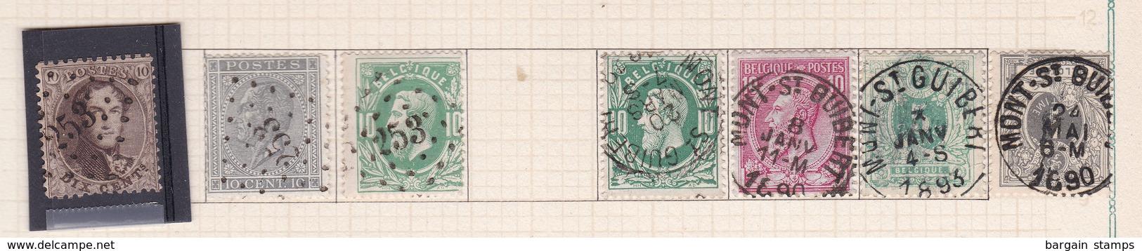 Belgique COB 14 17 30(x2) 46 45 43 Oblitérés Mont-St-Guibert - Belgique