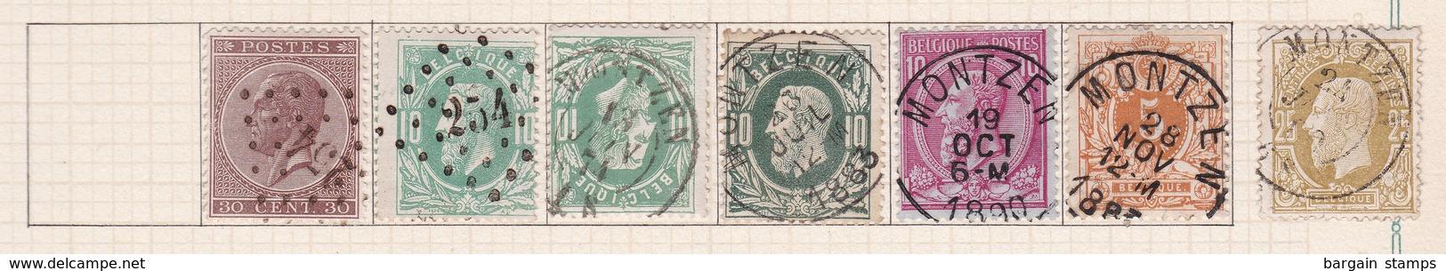 Belgique COB 19 30(x3) 46 28 32 Oblitérés Montzen - Belgique