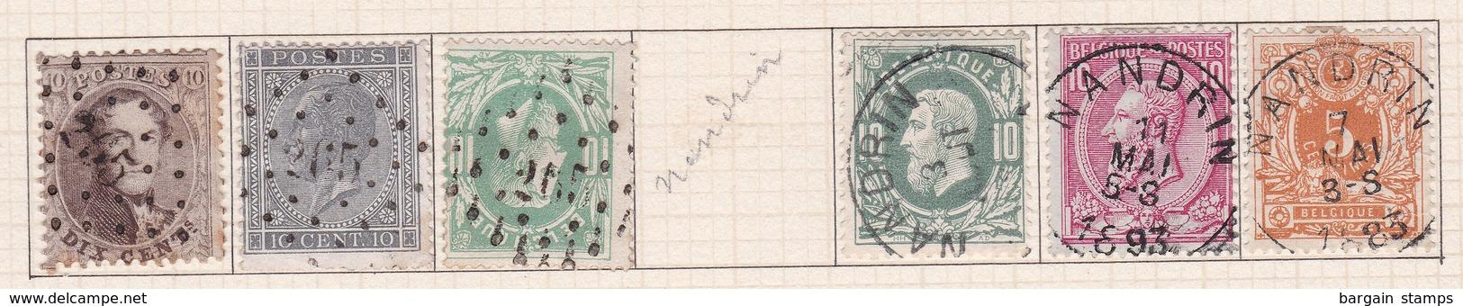 Belgique COB 14 17 30(x2) 46 28 Oblitérés Nandrin - Belgique