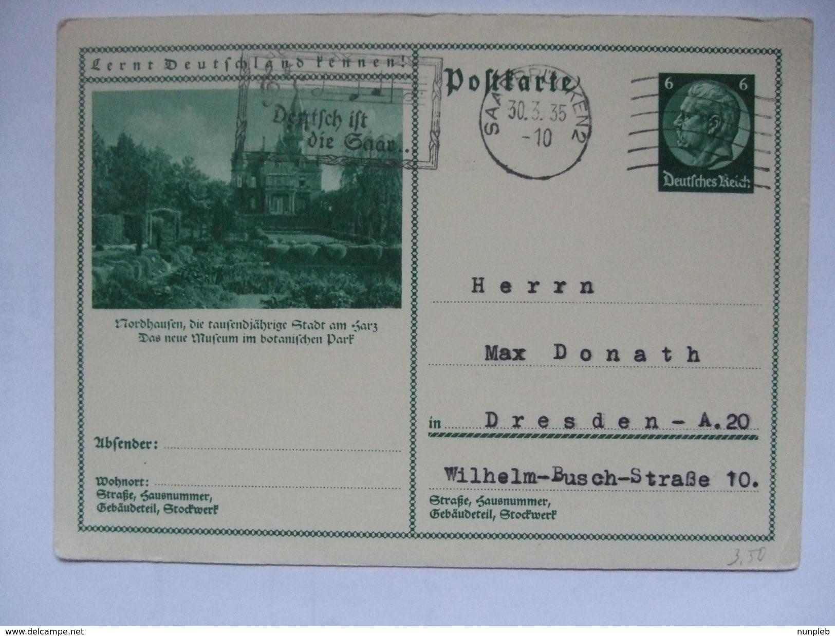 GERMANY - 1935 Postkarte - Lernt Deutschland Kennen! - Mi P 221 78 058 - Nordhausen Neue Museum - Briefe U. Dokumente