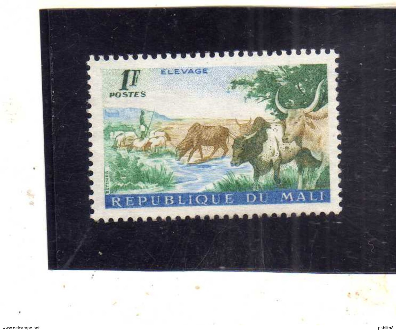 MALI 1961 First Anniversary Of Independence Reading Class, CATTLE MUCCHE 1f MNH - Mali (1959-...)