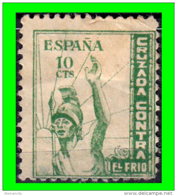 ESPAÑA SELLO CRUZADA CONTRA EL FRIO 10 CTS  LEGIONARIO  VERDE - Impuestos De Guerra