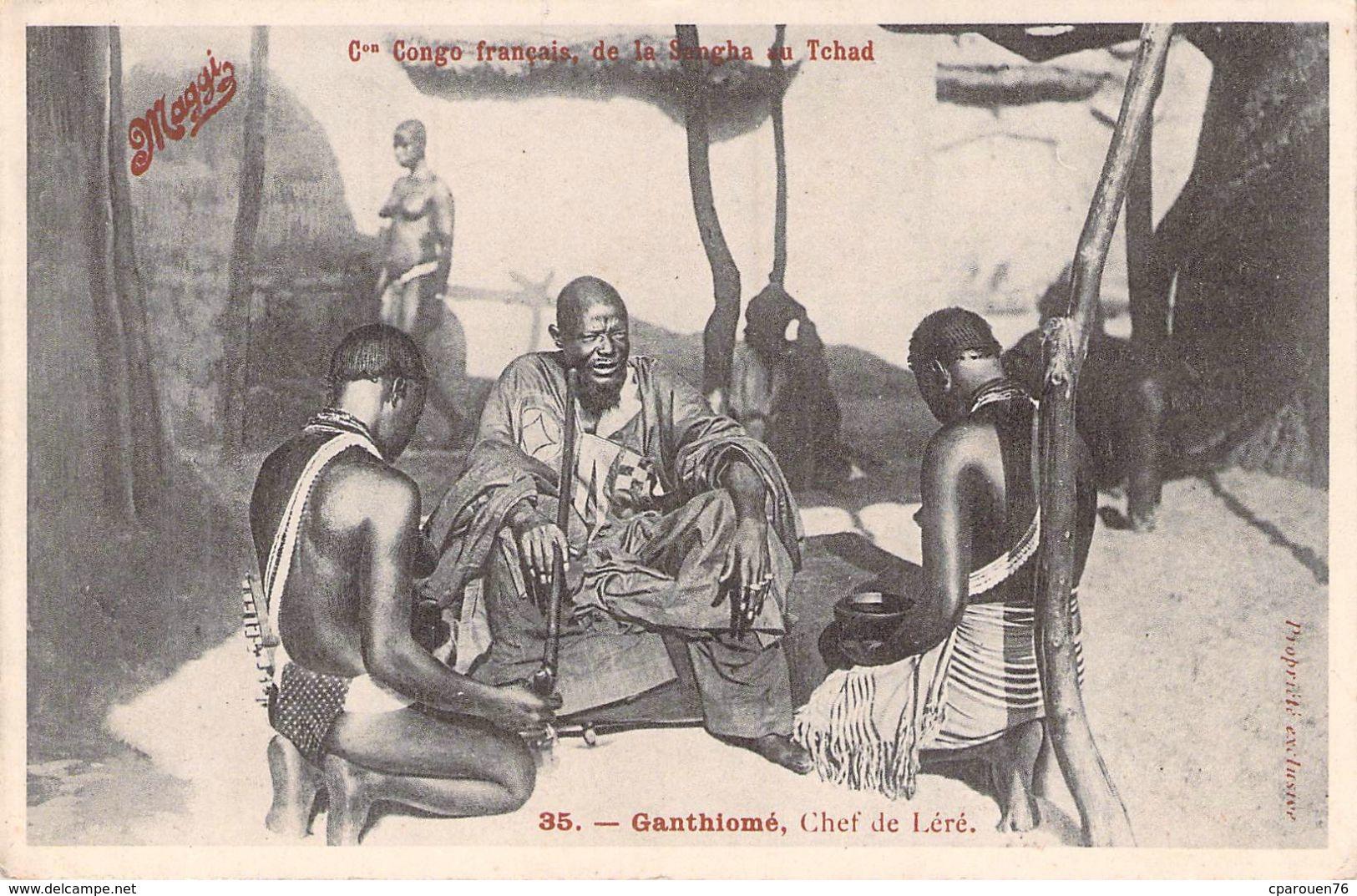 C P A Maggi Série Le Congo Français Ganthiomé Chef De Léré Carte Animée - Pubblicitari