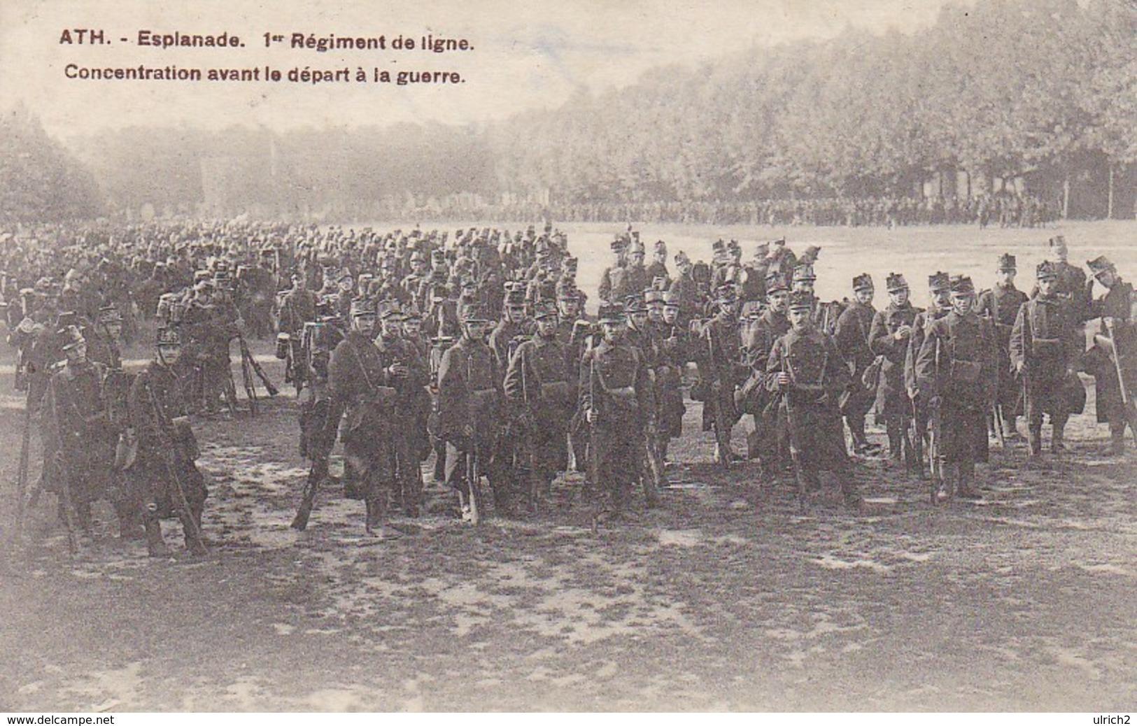 AK Ath - Esplanade - 1er Régiment De Ligne - Concentration Avant Le Déport à La Guerre - Feldpost Mons 1915 (32224) - Ath