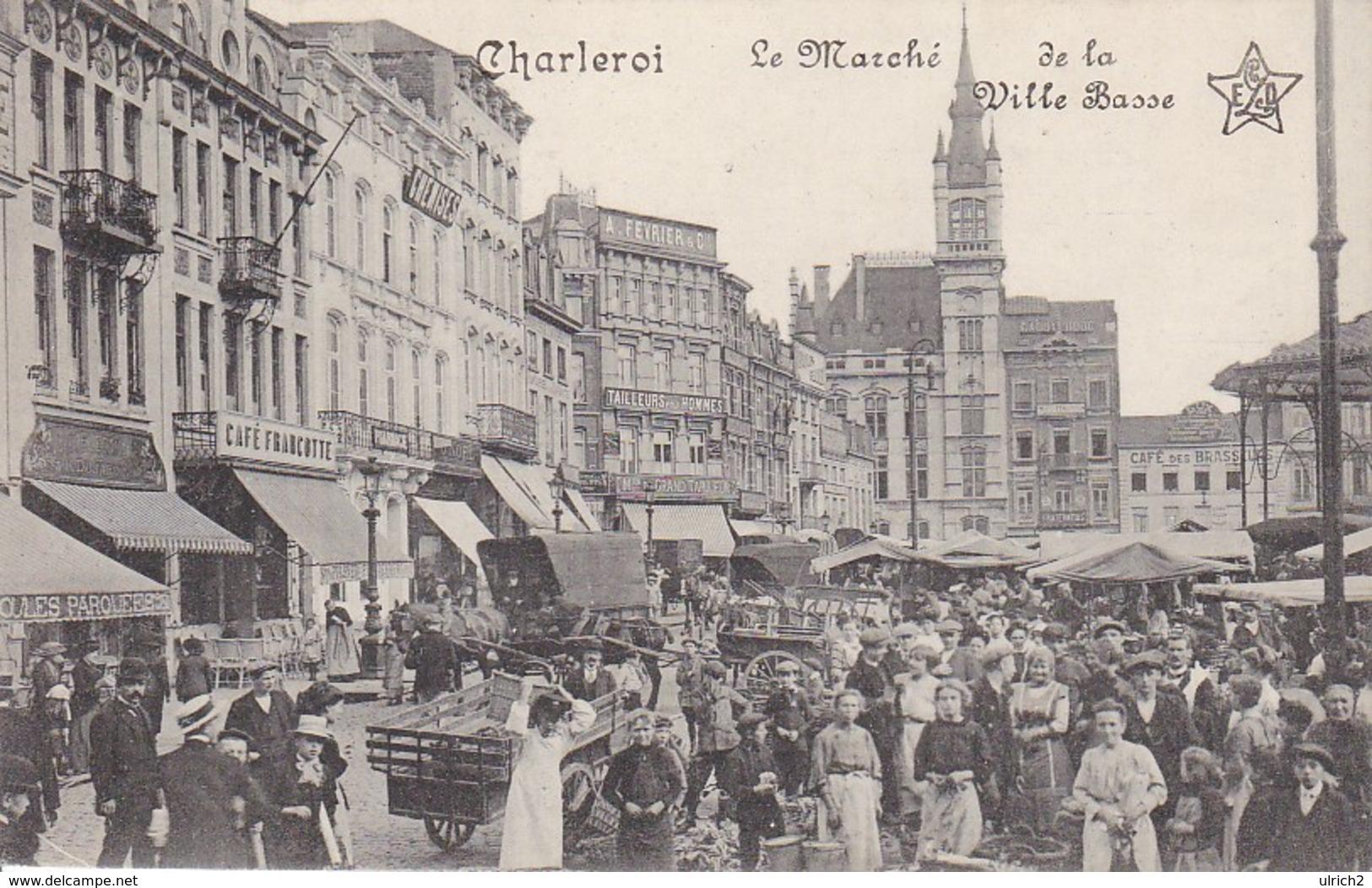 AK Charleroi - Le Marché De La Ville Basse - Feldpost Mons 1915 (32229) - Charleroi