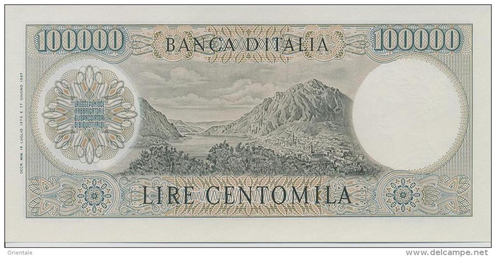 ITALY P. 100b 100000 L 1970 UNC - [ 2] 1946-… : Repubblica
