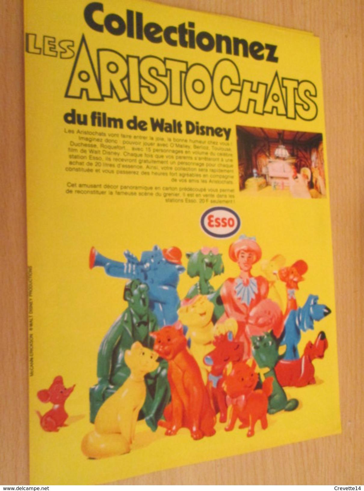 Page De Revue Des Années 70/80 : FIGURINES PUBLICITAIRES ESSO  LES ARISTOCHATS FILM DISNEY Format : Page A4 - Disney