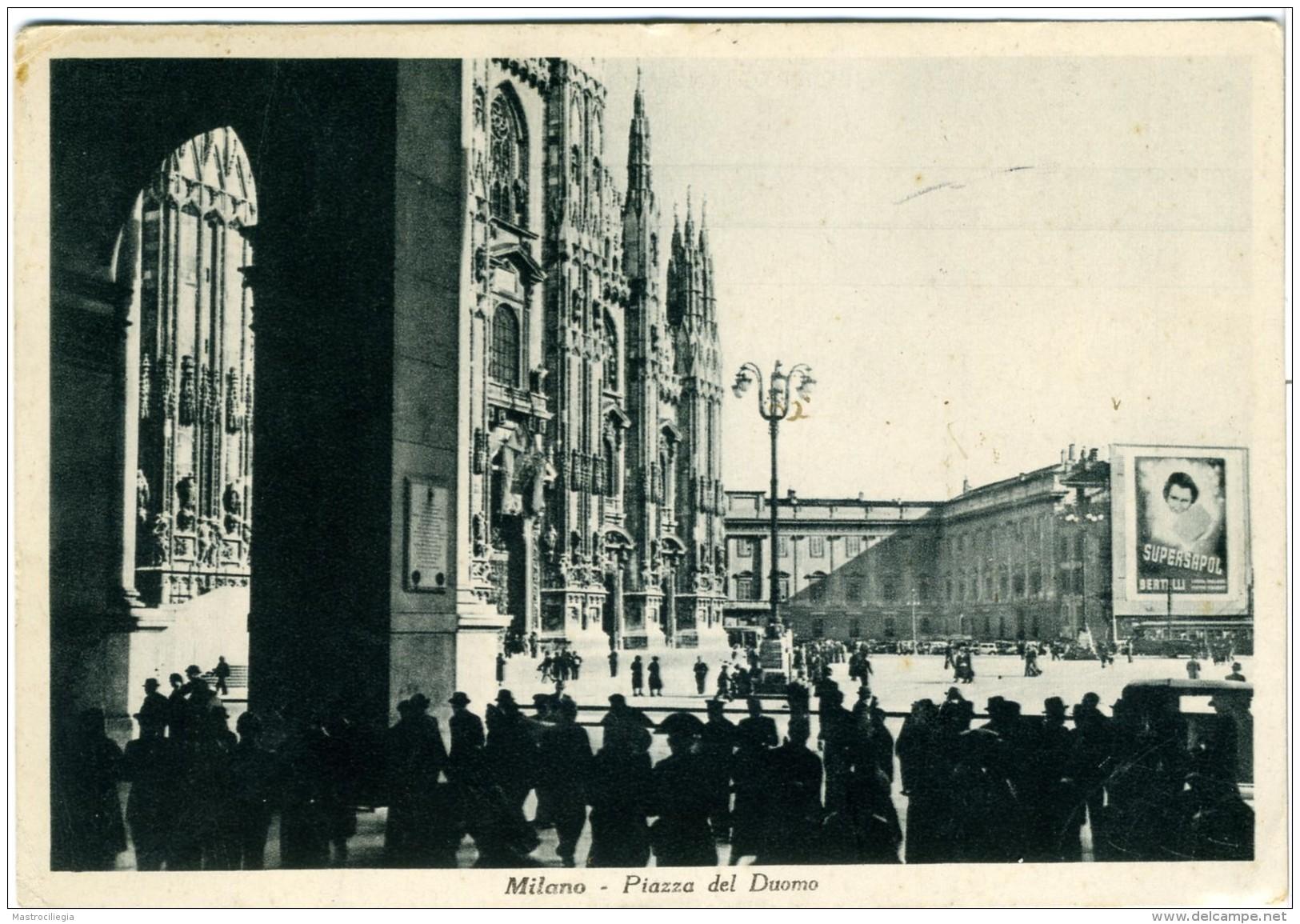 MILANO  Piazza Duomo Con Carabinieri   Pubblicità Supersapol Bertelli - Milano (Milan)
