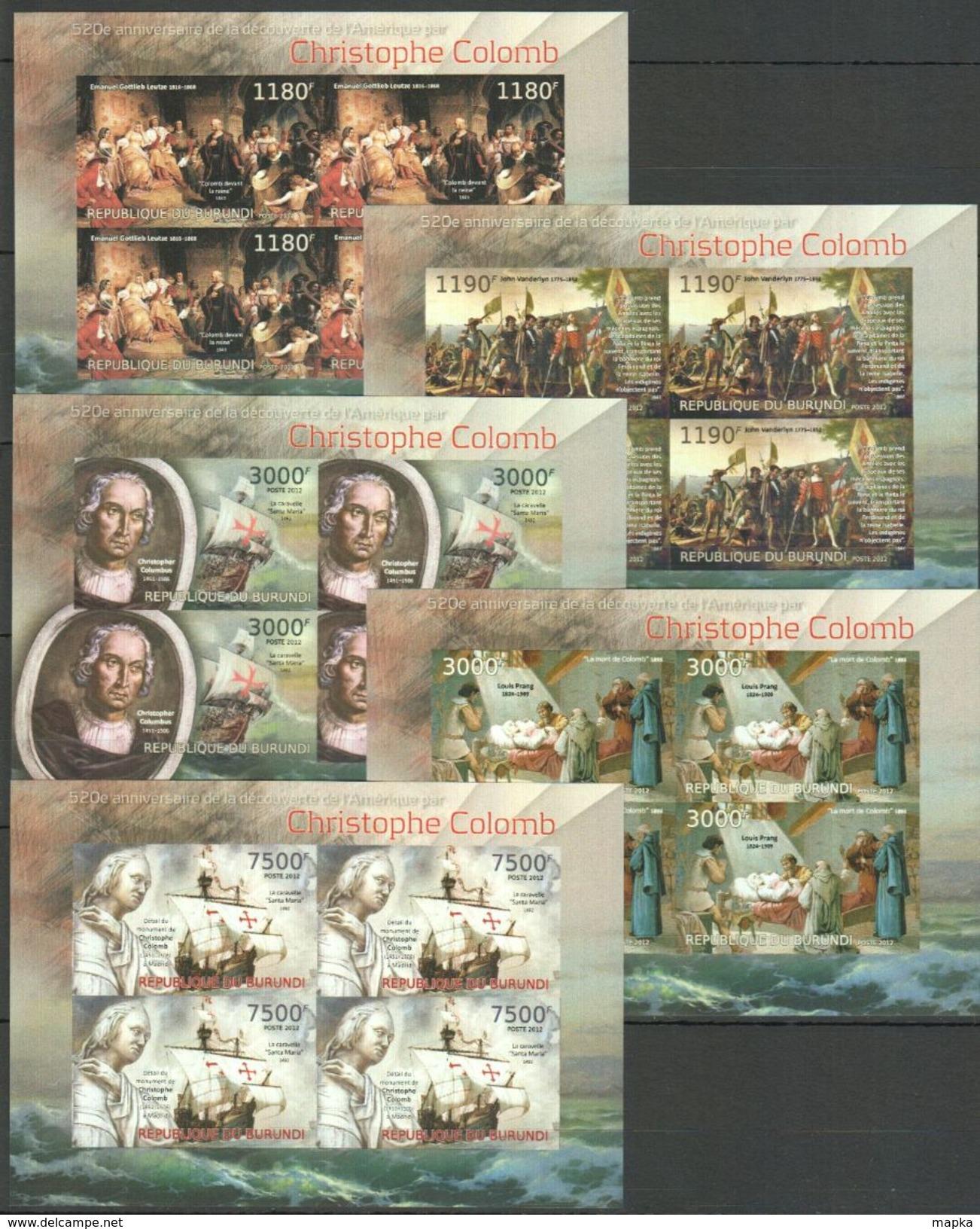 L738 IMPERFORATE 2012 BURUNDI FAMOUS PEOPLE CHRISTOPHE COLOMB 5 LUX KB MNH - Christopher Columbus