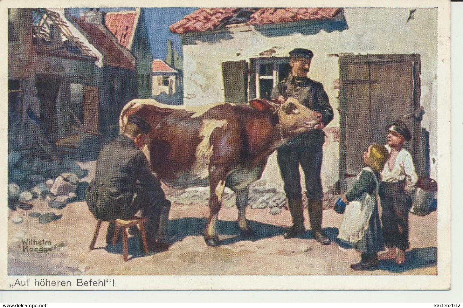 """AK """"Kuh Wird Gemolken"""" - Guerre 1914-18"""