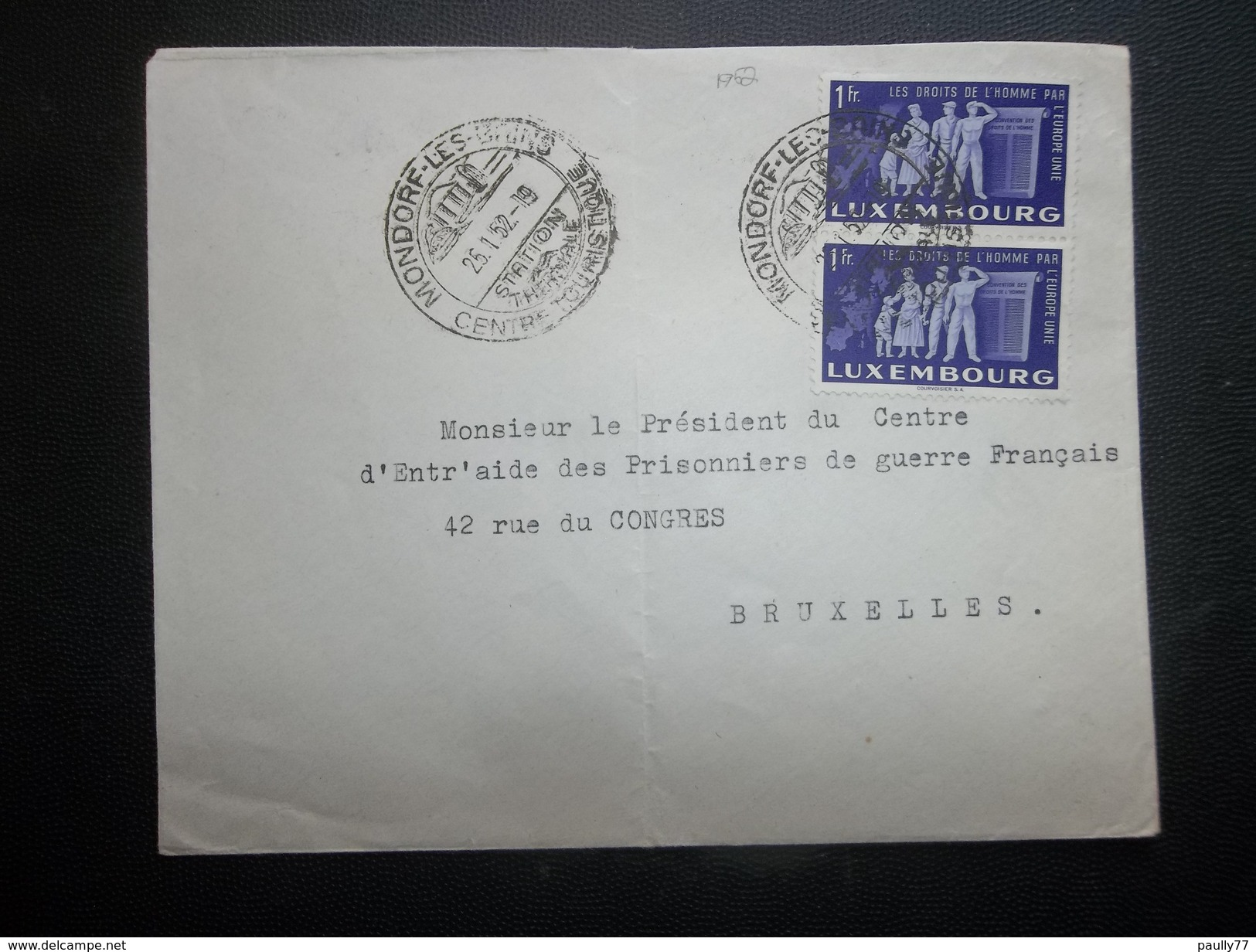 Luxembourg: 1952 Cover To Bruxelles-Vertically Folded Trace (#WW7) - Luxembourg