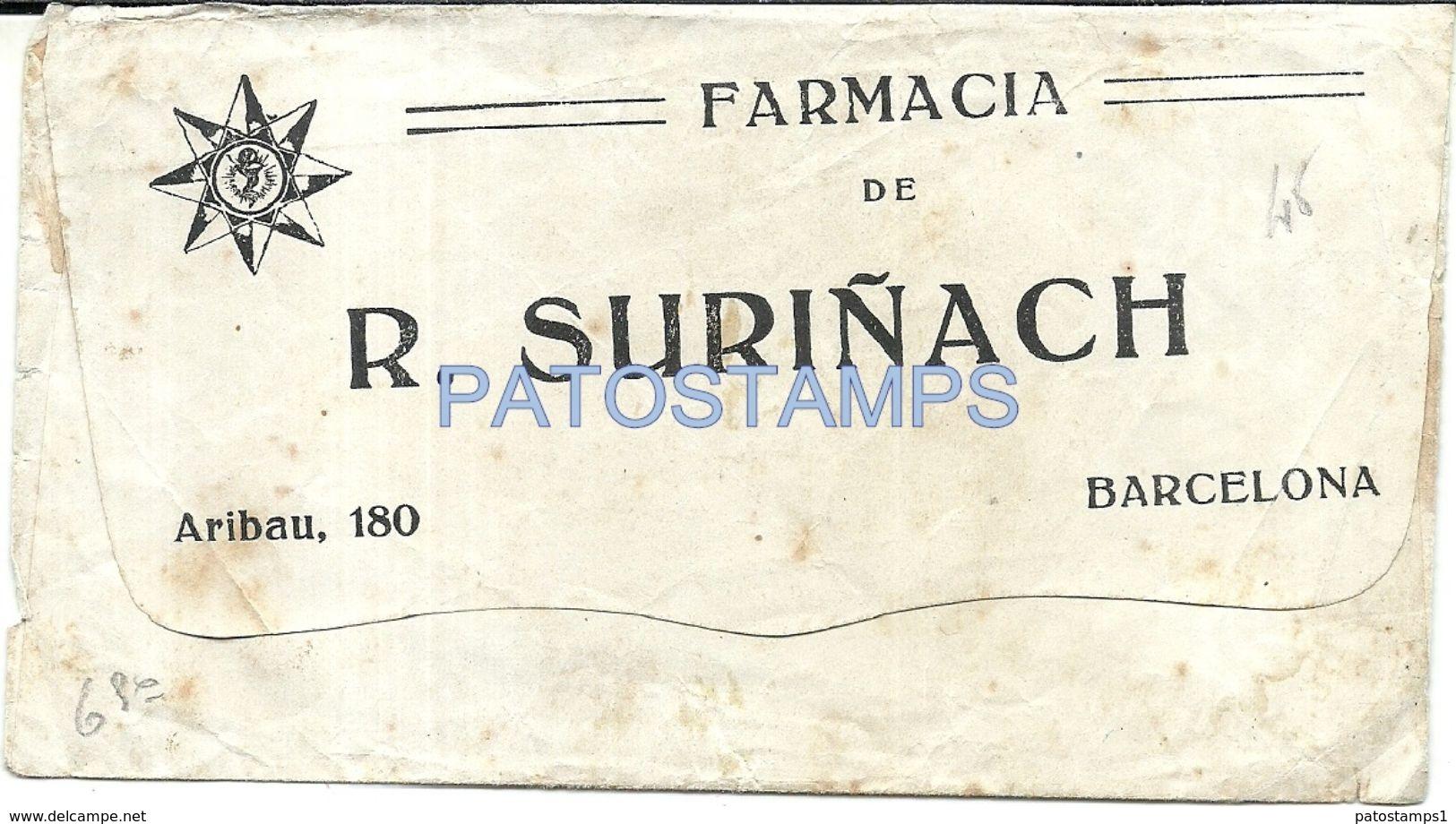 84058 SPAIN ESPAÑA BARCELONA CATALUÑA COVER PUBLICITY FARMACIA R. SURIÑACH NO POSTAL POSTCARD - Spanien