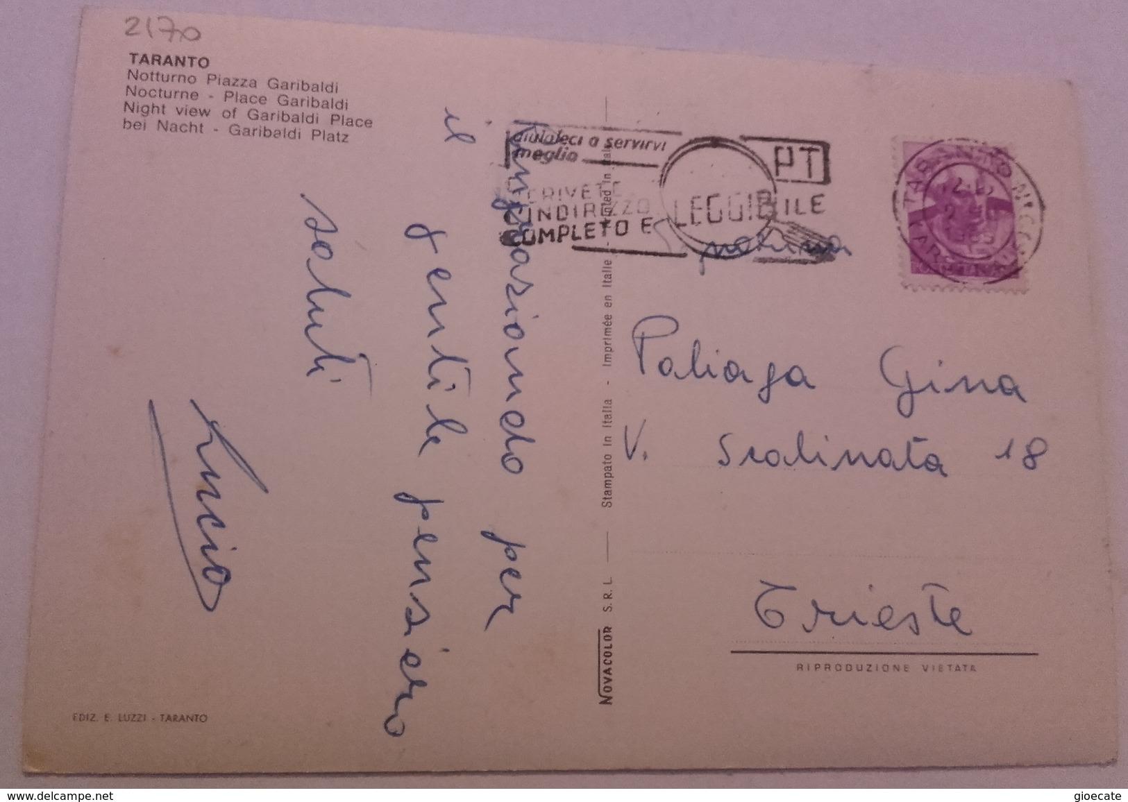 TARANTO – NOTTURNO PIAZZA GARIBALDI – VIAGG. 1965 – (2170) - Taranto