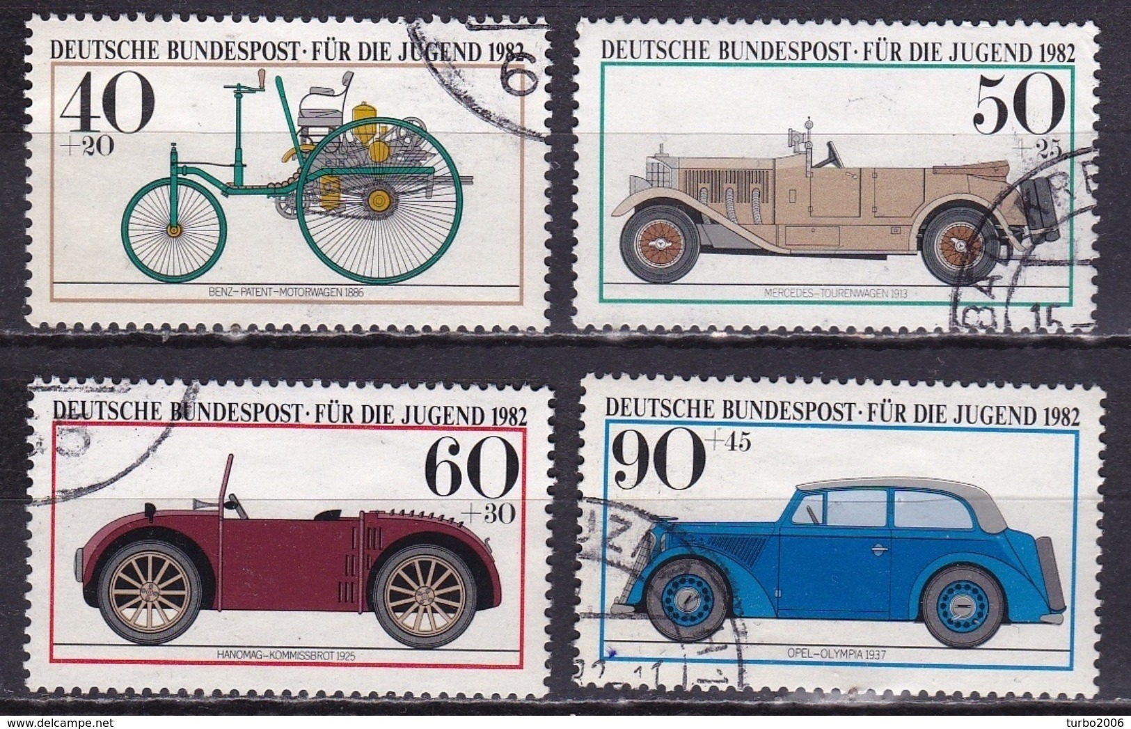 BRD 1982 Jugend Historische Kraftfahrzeuge Kompletter Satz Michel 1123 / 1126 - Gebruikt
