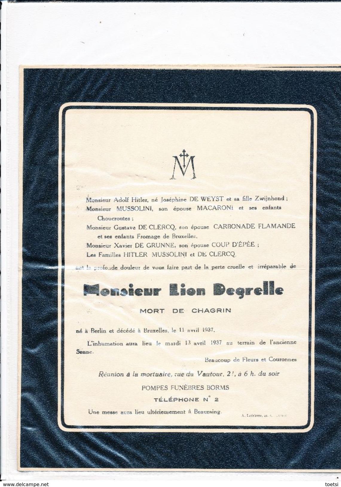 Doodsbrief  Avis De Déces LION LEON DEGRELLE   HITLER MUSSOLINI GUSTAVE DE CLERCQ - Décès