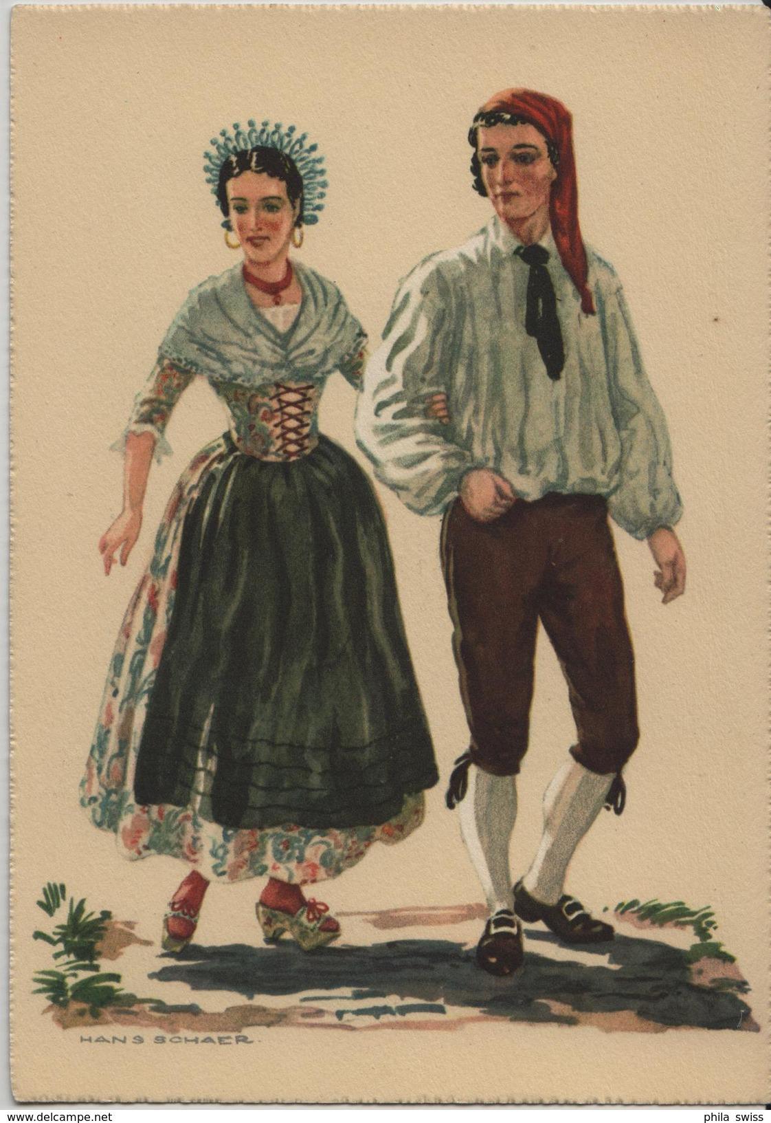 Costumes Suisses Du 18e Siecle Tessin (Mendrisio) - Künstlerkarte Hans Schaer - TI Tessin
