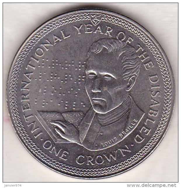 ISLE OF MAN .ONE CROWN 1981. INTERNATIONAL YEAR OF THE DISABLED . LOUIS BRAILLE - Regionale Währungen