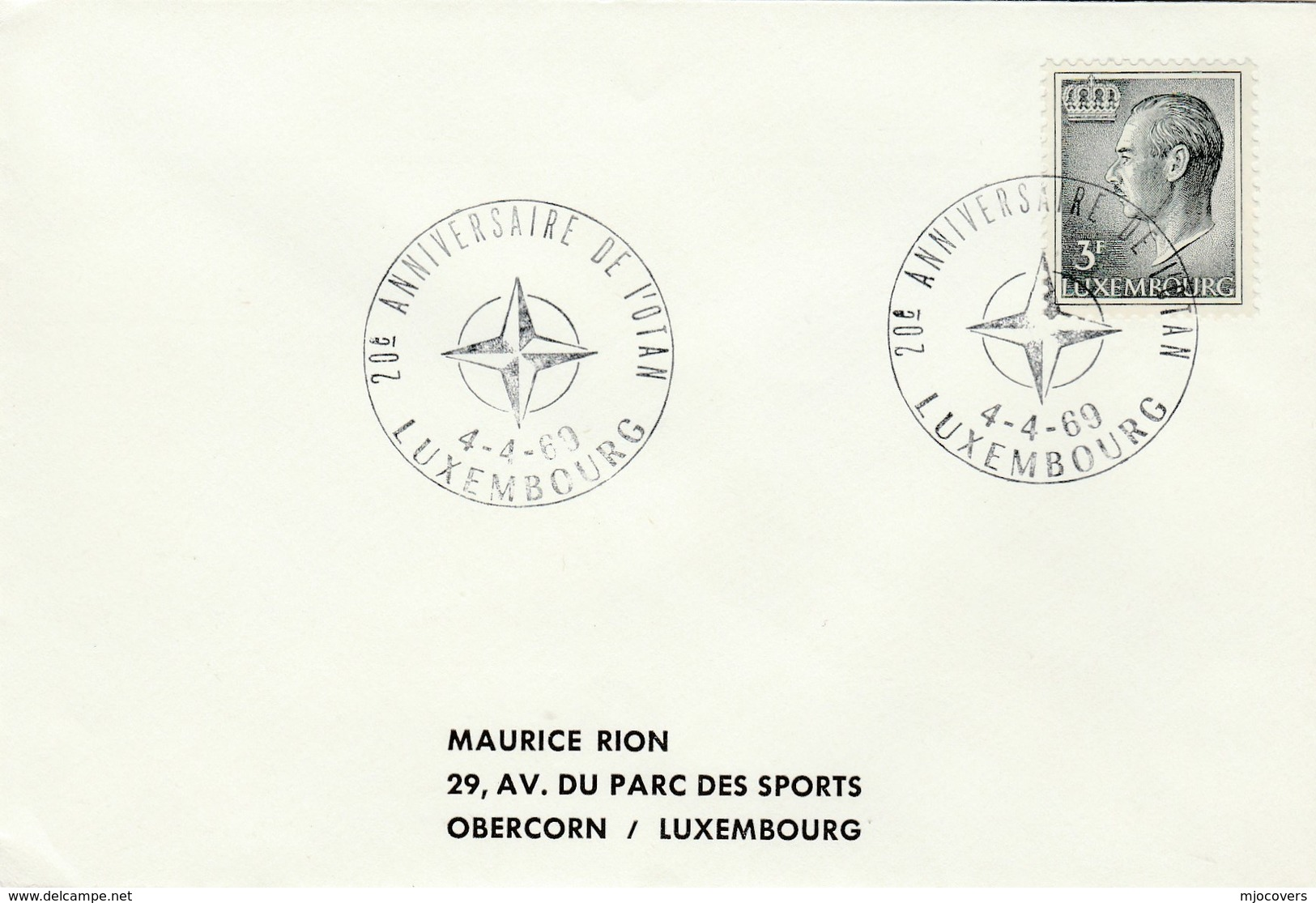 1969  Luxembourg NATO 20th Anniv EVENT COVER Stamps - NATO