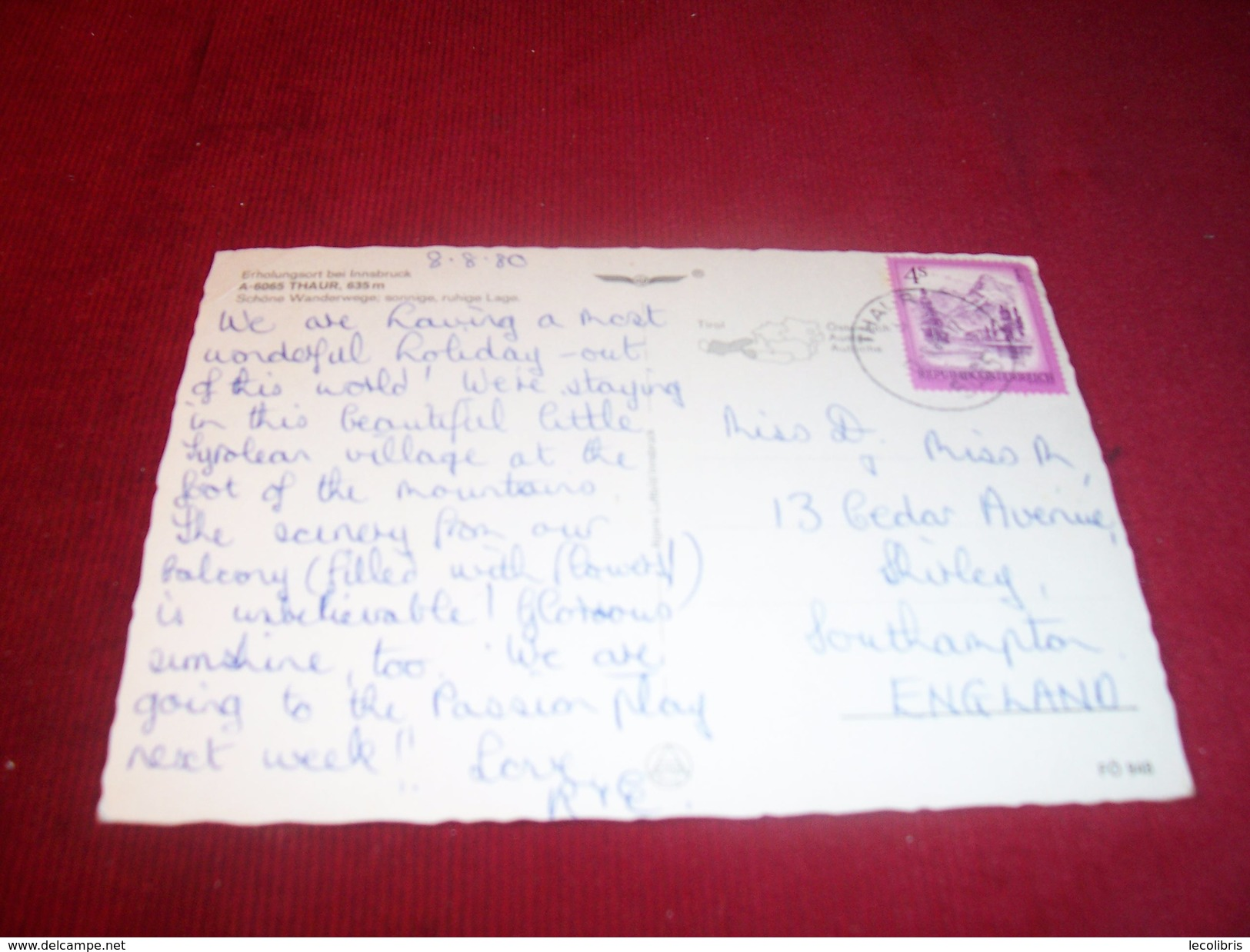 AUTRICHE / OSTERREICH  / THEME  LES EGLISES  °°  A 6065 THAUR  LE 8 08 1980 - Autriche