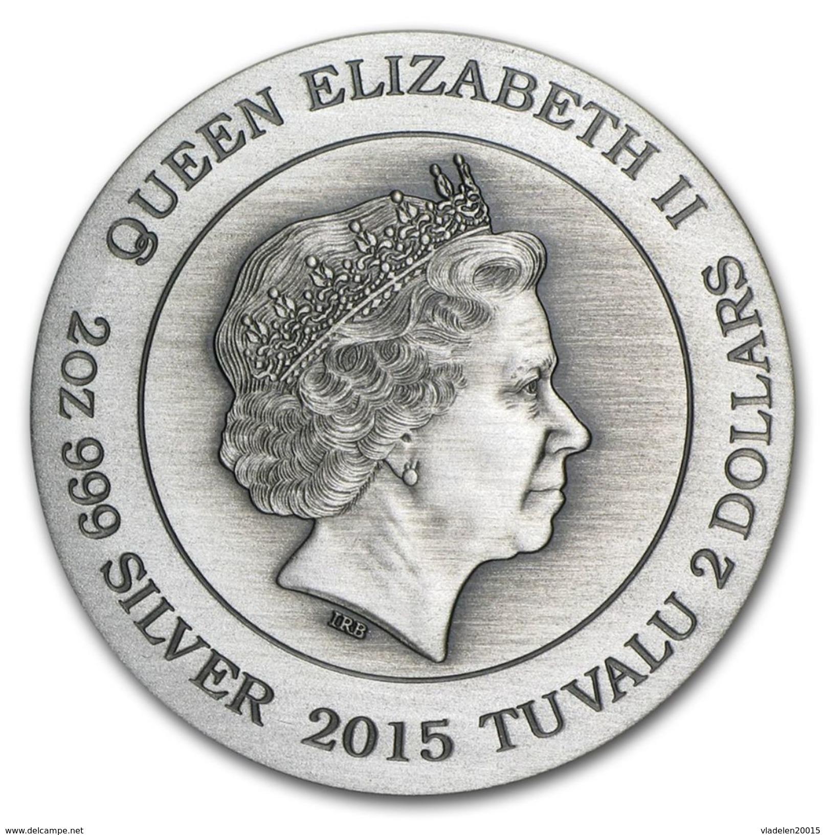 2015 Tuvalu 2 Ounces Silver Goddess Olympus Hera (HR) - Tuvalu