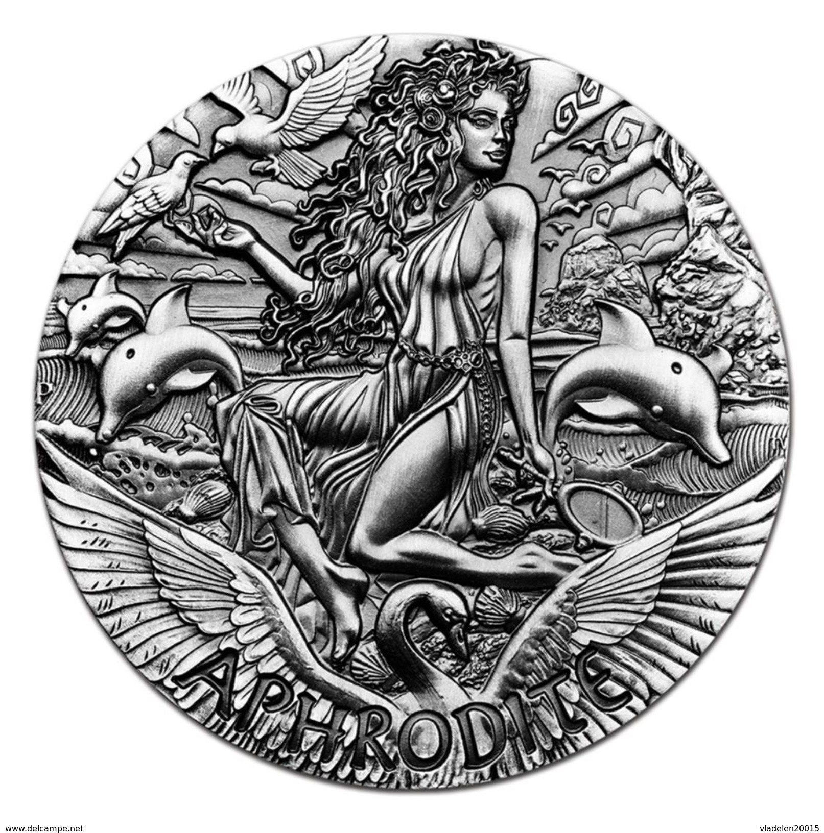 2015 Tuvalu 2 Ounces Silver Goddess Olympus Aphrodite (HR). - Tuvalu