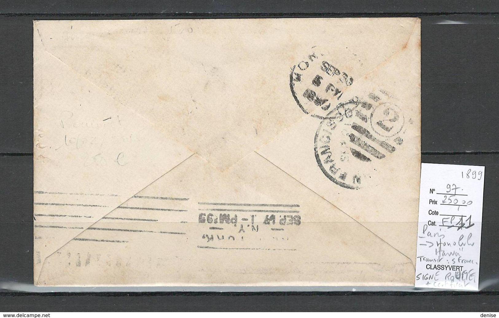 Lettre De Paris Pour HONOLULU - HAWAI - ETATS UNIS -  1899 - DESTINATION EXCEPTIONNELLE - TYPE SAGE - 1876-1898 Sage (Type II)