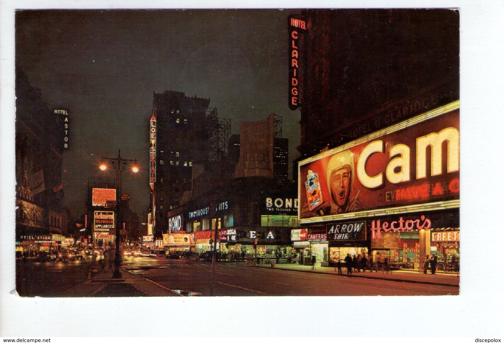 U1226 Small Postcard: New York City > Time Square, Night + INSEGNA HOTEL CLARIDGE - Time Square