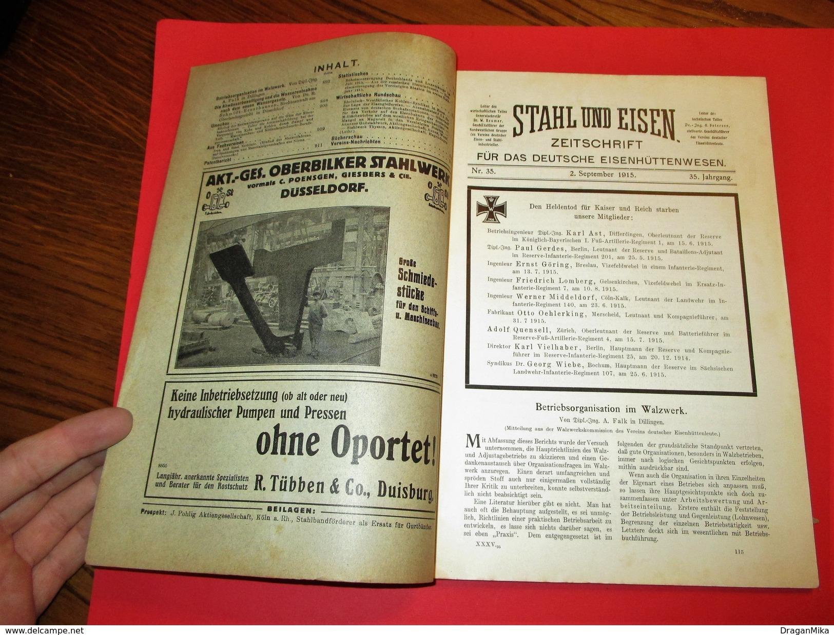 RARE: STAHL UND EISEN / STEEL AND IRON, Magazine Of German Steelworks, 2. Septembar 1915. - Bücher, Zeitschriften, Comics