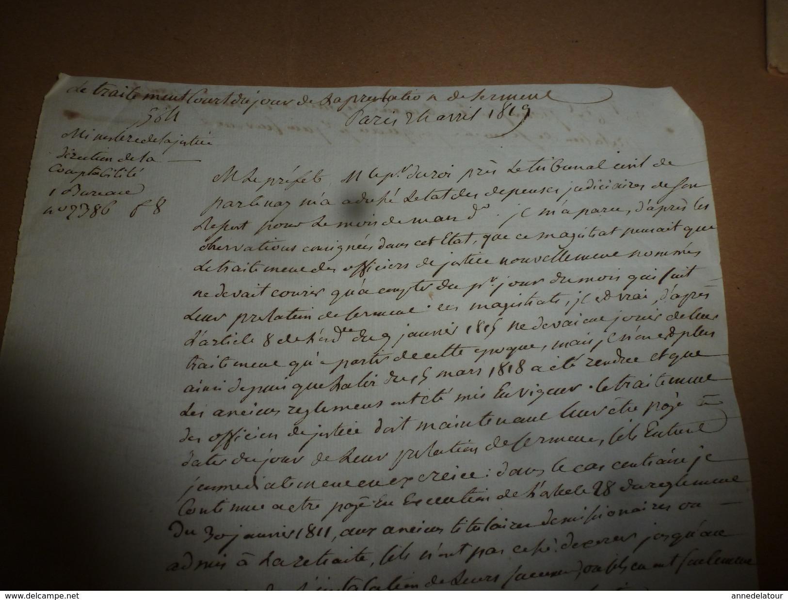 1817 Manuscrit Du Ministre De La Justice H. De Serre : APPLICATION Du TRAITEMENT à Partir De La PRESTATION DE SERMENT - Vieux Papiers