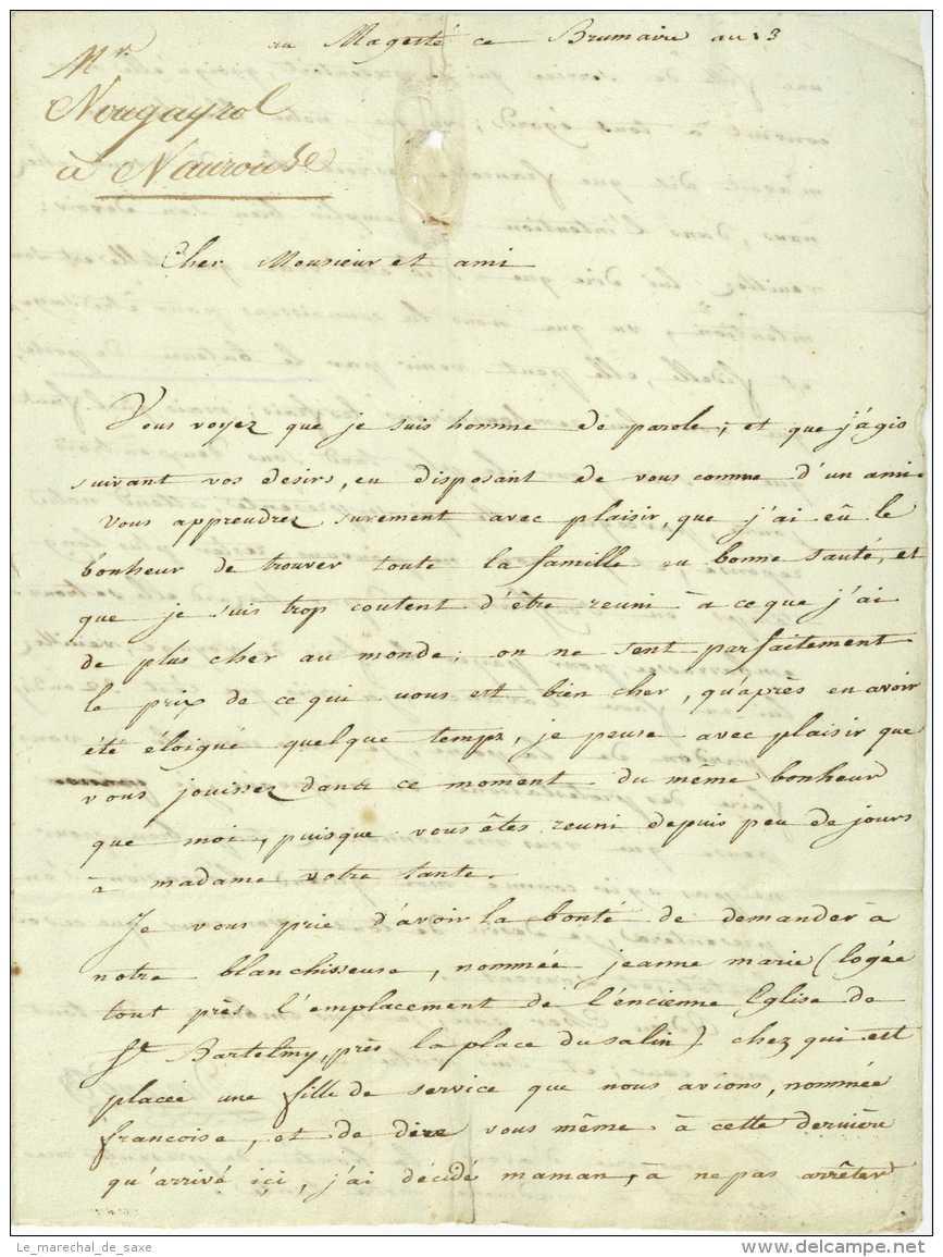 1804 Lettre Du Mageste Pour Toulouse Mention D'un BATEAU DE POSTE Premier Empire Durand - Historische Dokumente