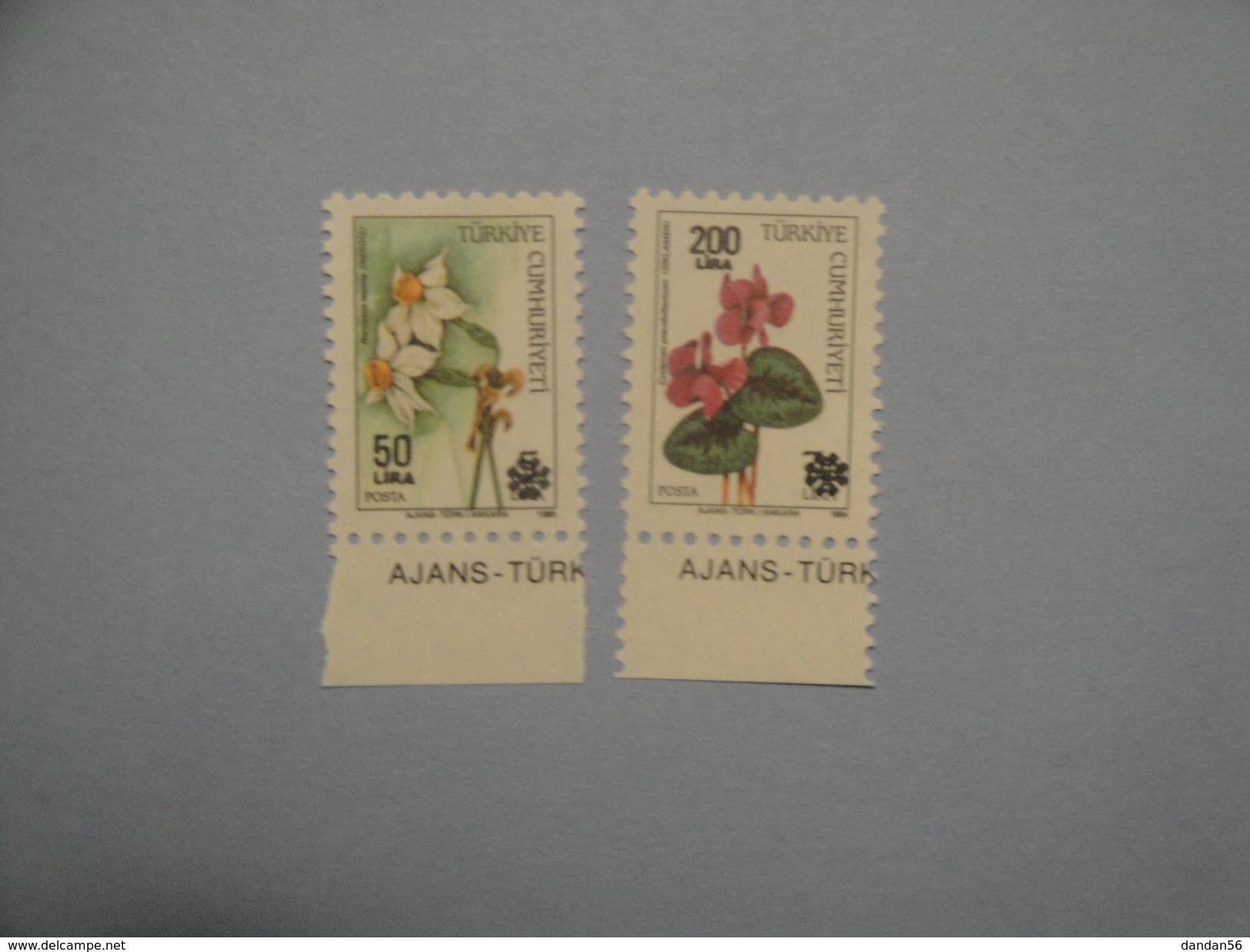 1990 Turquie  Yv 2626 + 2628 ** Fleurs Flowers  Scott Xx  Michel 1880 + 1882  SG Xxx - Neufs