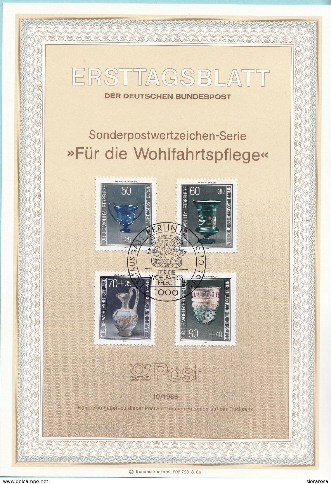 "Berlino 1986 Sc. 9NB238/41 Ersttagsblatt N. 10 ""Fur Die Wohlfahrtspflege""  FDC Sheet Germania Cristalleria Nei Musei - Vetri & Vetrate"