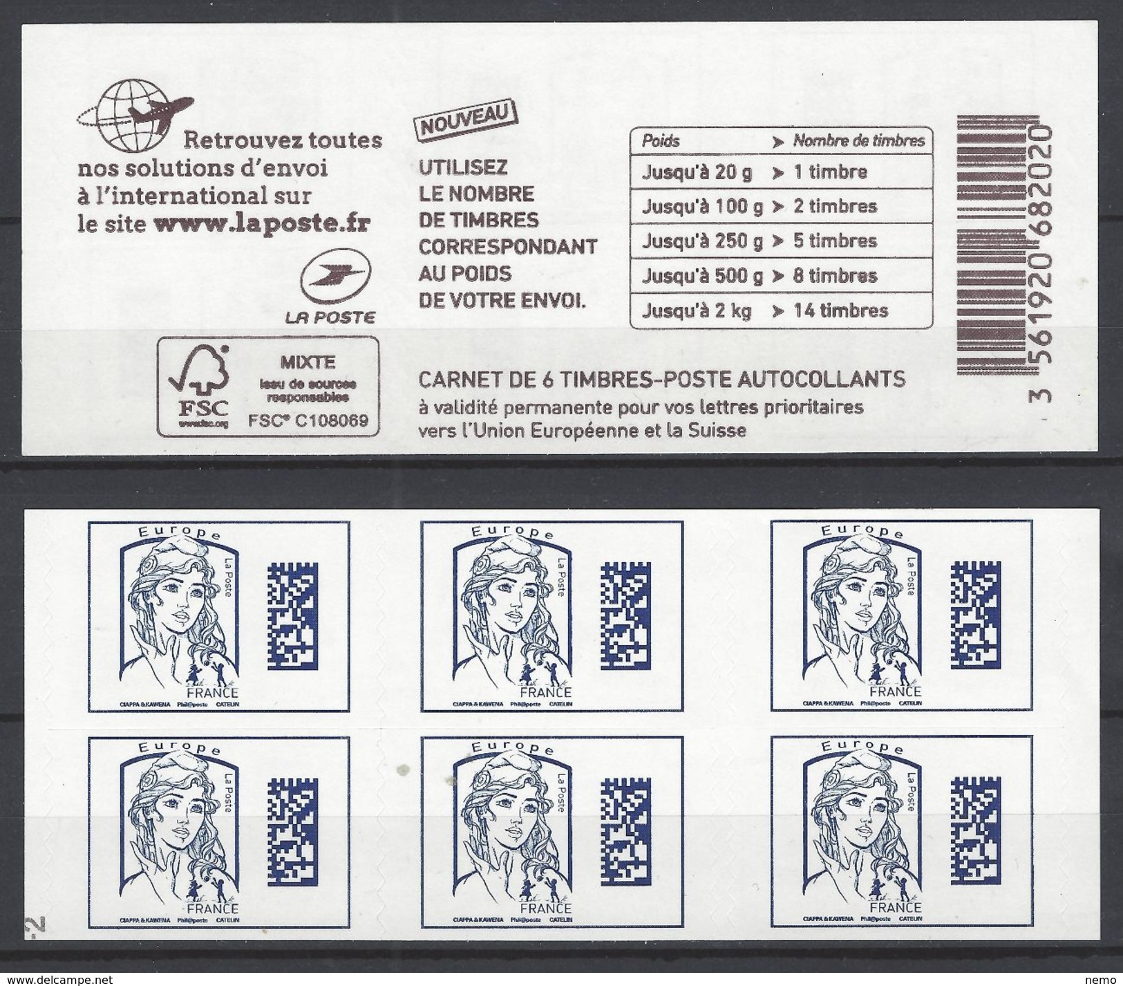Carnet Marianne De Ciappa  Bleu Europe. -2 De RGR - Usage Courant