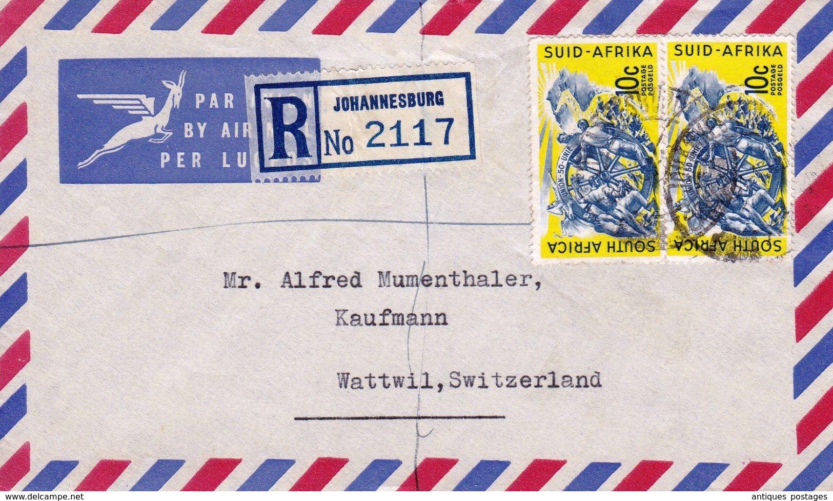 Lettre Recommandée Johannesbourg Johannesburg 1961 Register Letter Wattwil Switzerland Suisse - Afrique Du Sud (1961-...)