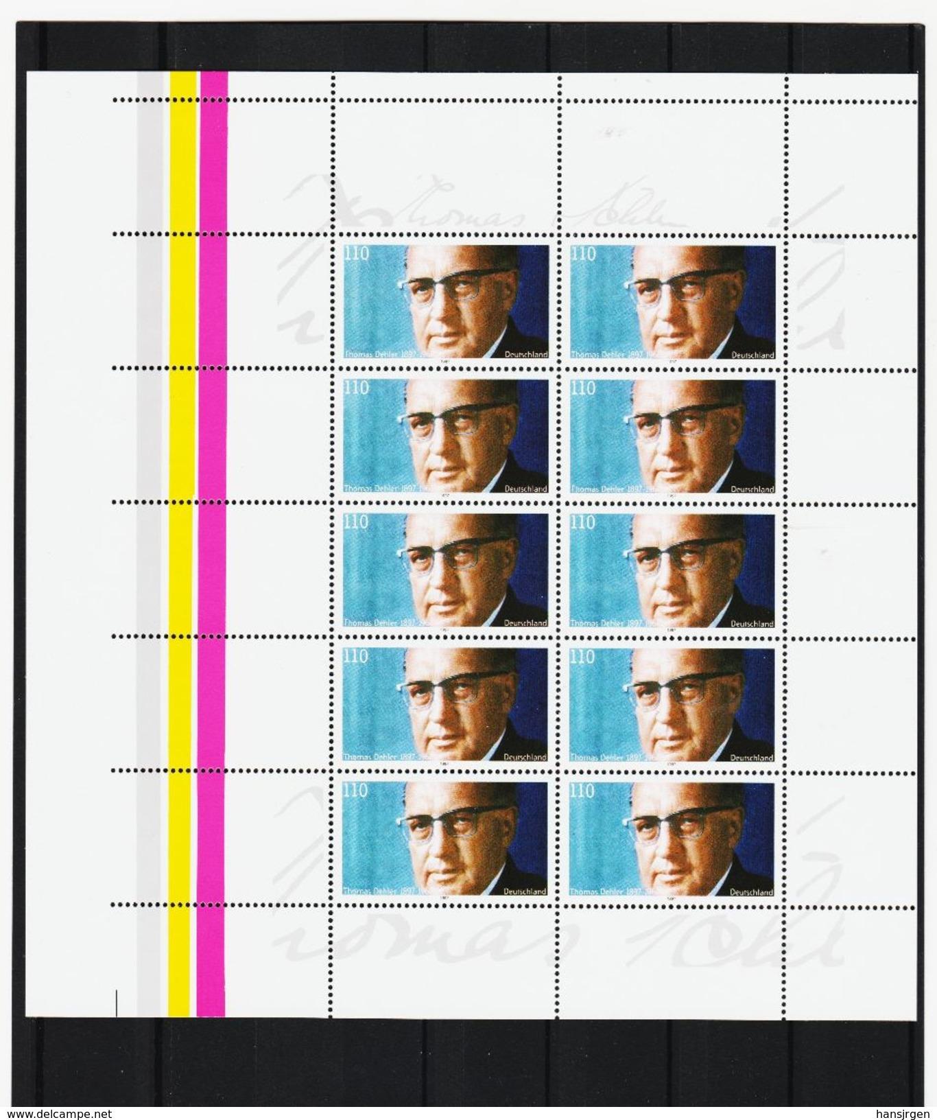 FCC775 BRD 1997 DEUTSCHLAND GROSSRARITÄT Michl 1963 4 X ABART Mit LEERFELF KATALOG 1000,00 € ** Postfrisch - Abarten