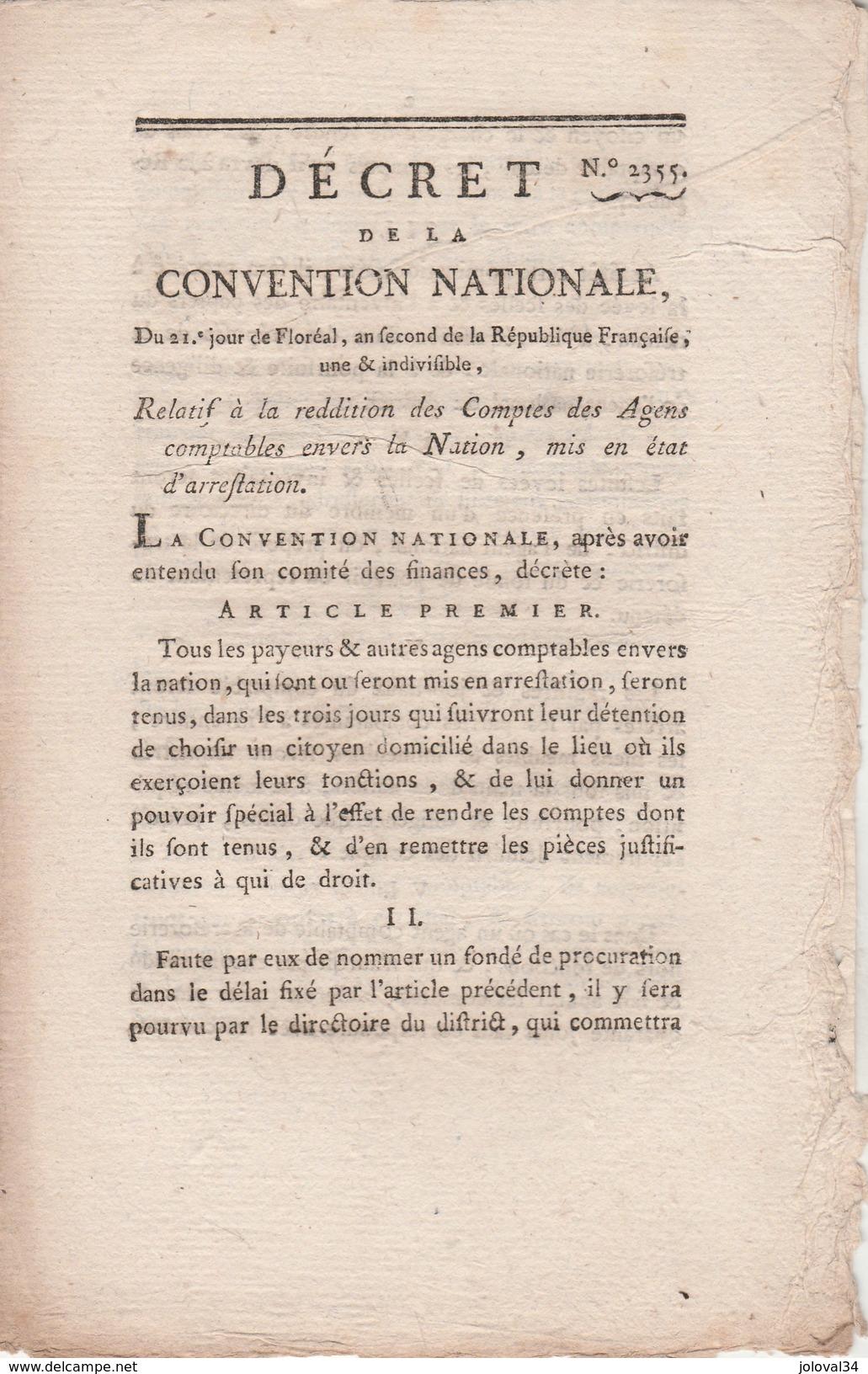 Décret Convention Nationale Relatif Reddition Des Comptes Agents Comptables Envers Nation Mis En état Arrestation - Décrets & Lois
