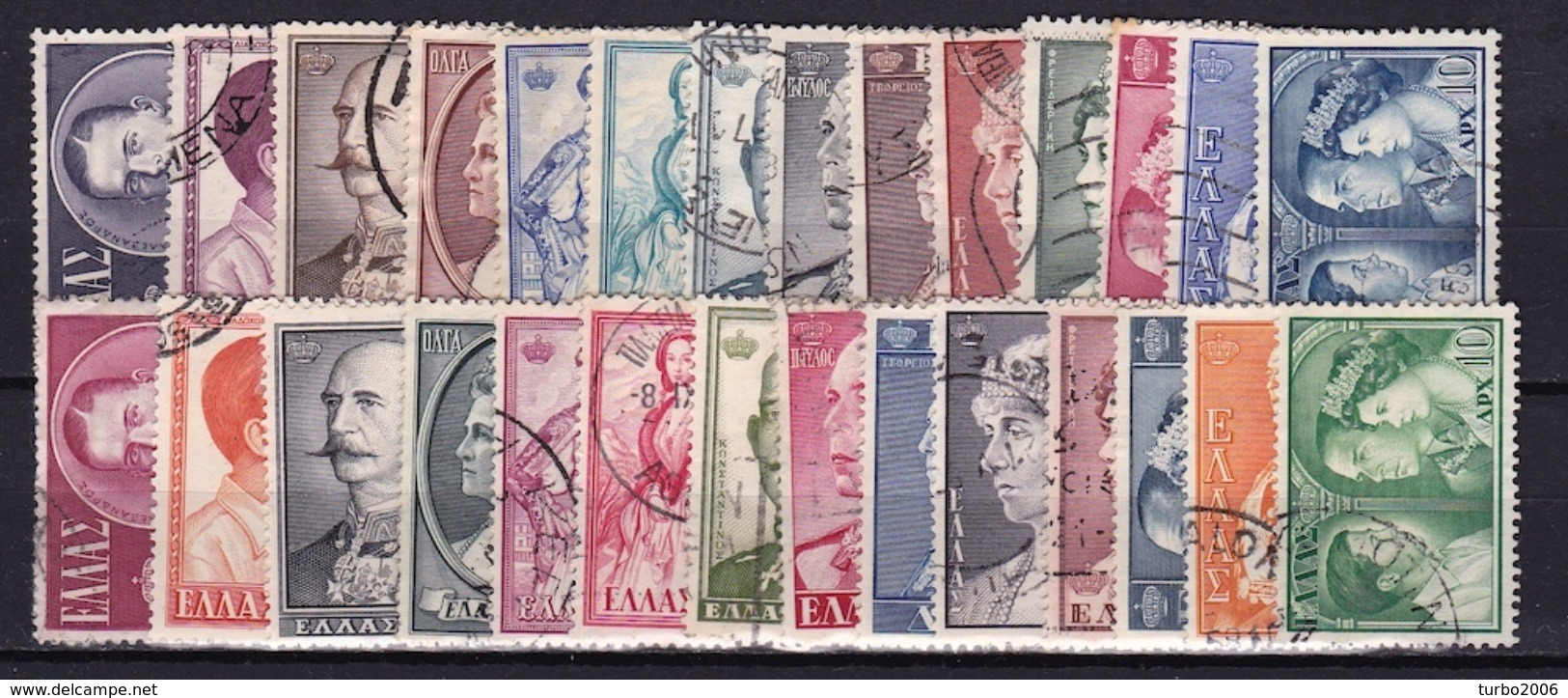GREECE 1956-1957 Royal Family I + II 2 Complete Used Sets Vl. 709 / 722 + 726 / 739 - Griekenland