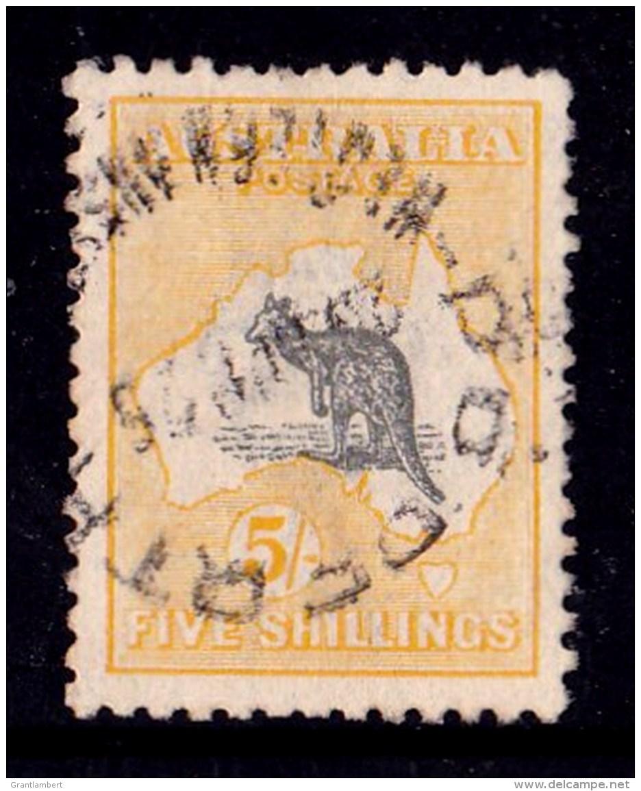 Australia 1918 Kangaroo 5/- Grey & Yellow 3rd Watermark Used - Broken Tail - Used Stamps