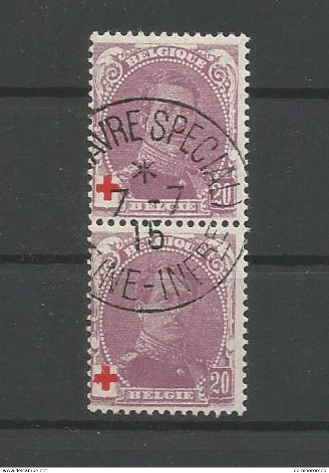 OCB  131 Gestempeld Samenhangend - 1918 Red Cross