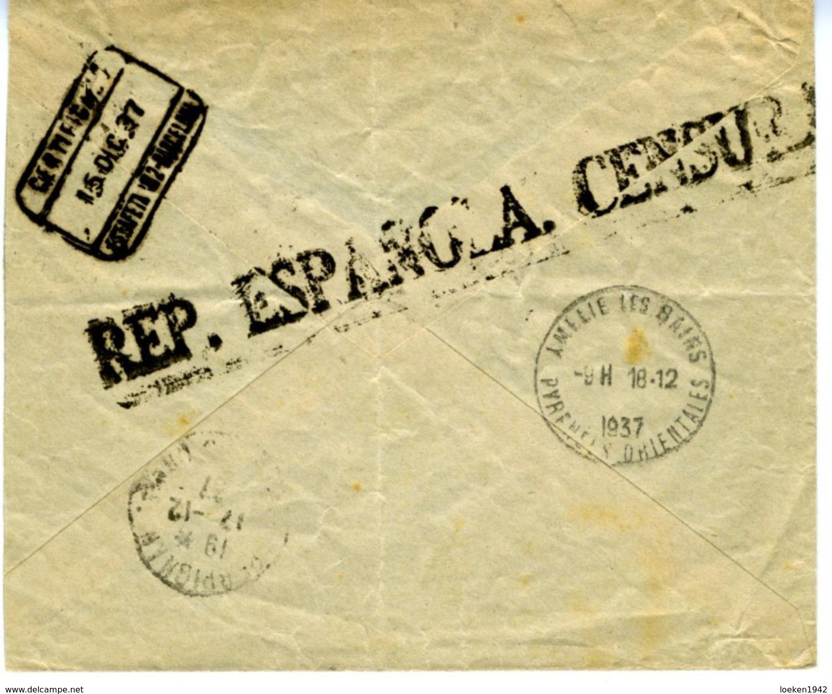 ESPAÑA 1937 CARTA  RARA CENSURA DE BARCELONA Certificado Y  Expres  ELA 27 - 1931-Hoy: 2ª República - ... Juan Carlos I
