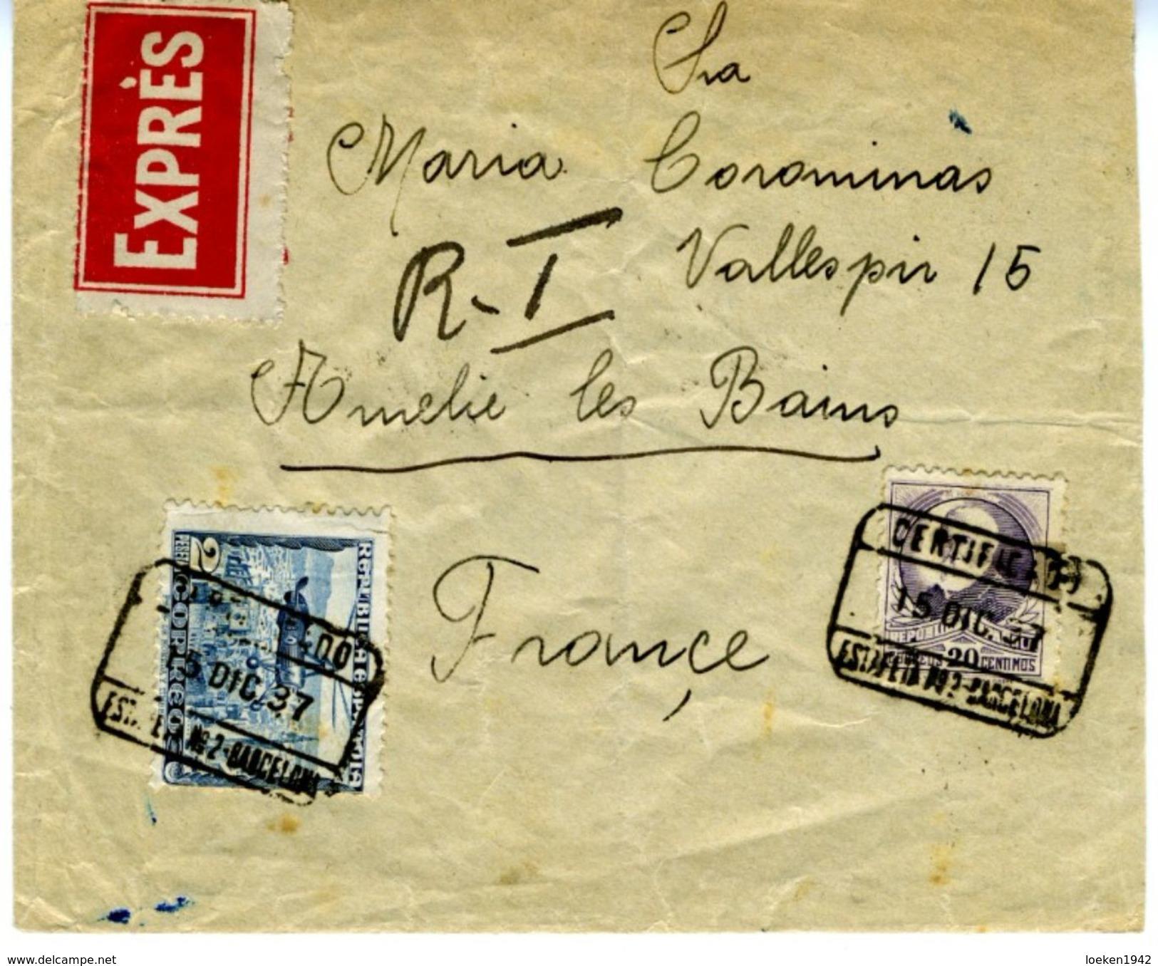 ESPAÑA 1937 CARTA  RARA CENSURA DE BARCELONA Certificado Y  Expres  ELA 27 - 1931-50 Cartas