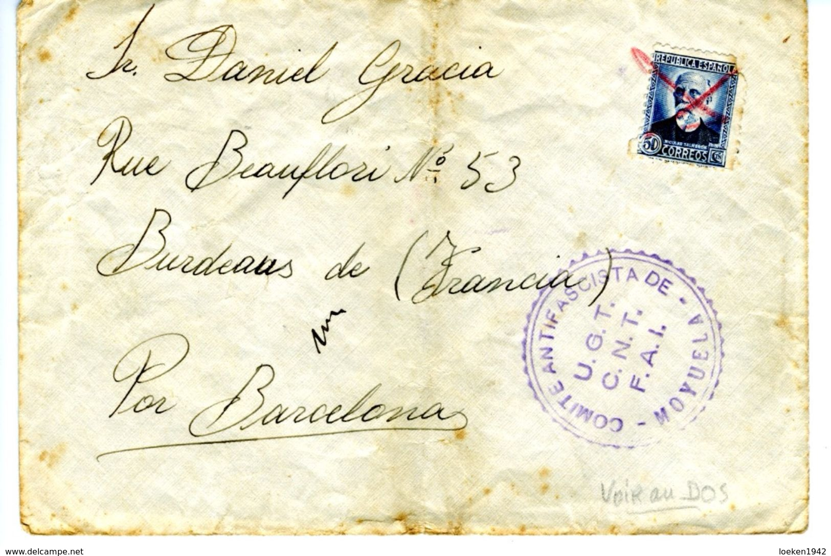 ESPAÑA  1936 MOYUELA    COMITE ANTIFASCISTA  UGT CNT FAI COLUMNA ORTIZ  ELA 31 - 1931-Hoy: 2ª República - ... Juan Carlos I