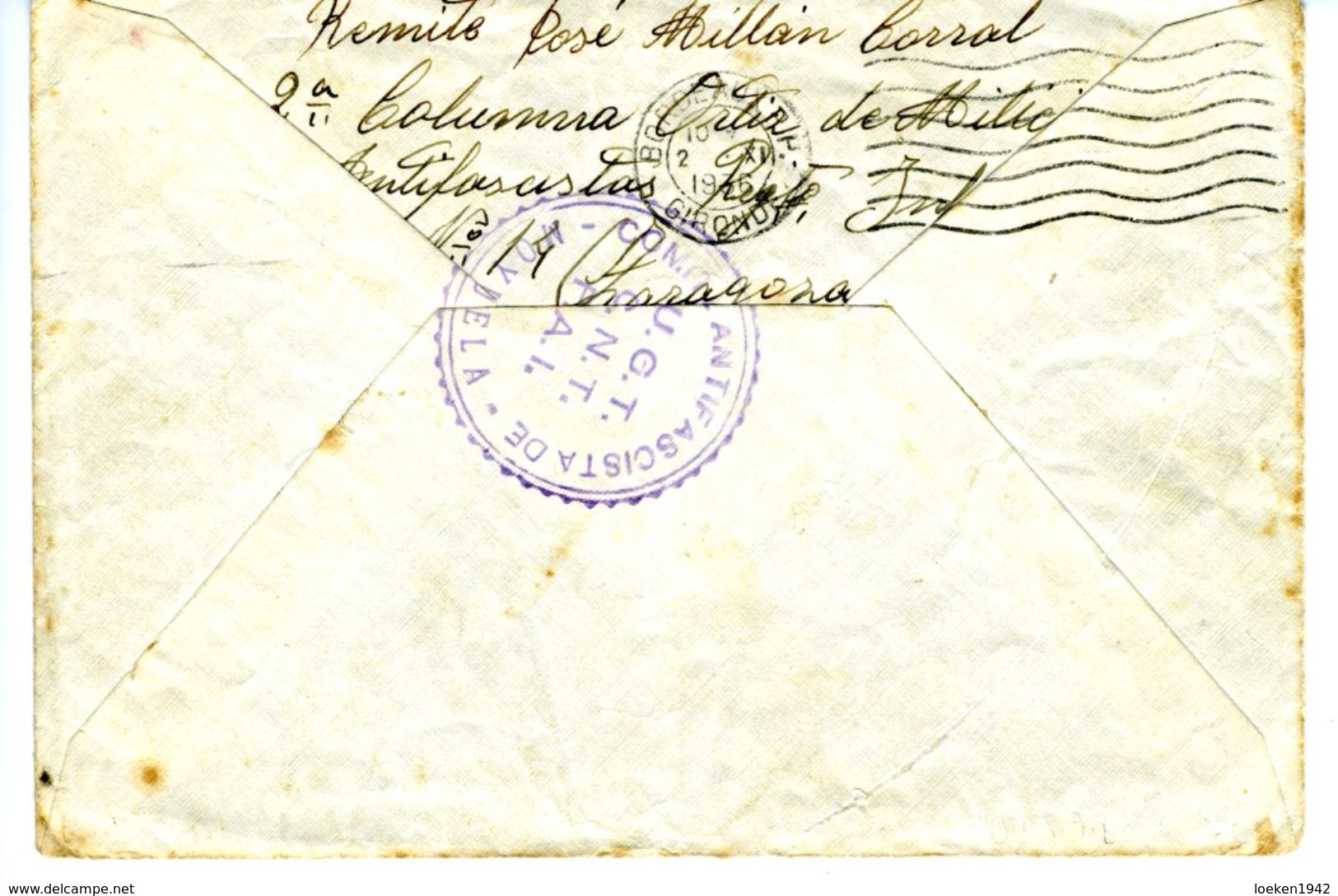 ESPAÑA  1936 MOYUELA    COMITE ANTIFASCISTA  UGT CNT FAI COLUMNA ORTIZ  ELA 31 - 1931-50 Cartas