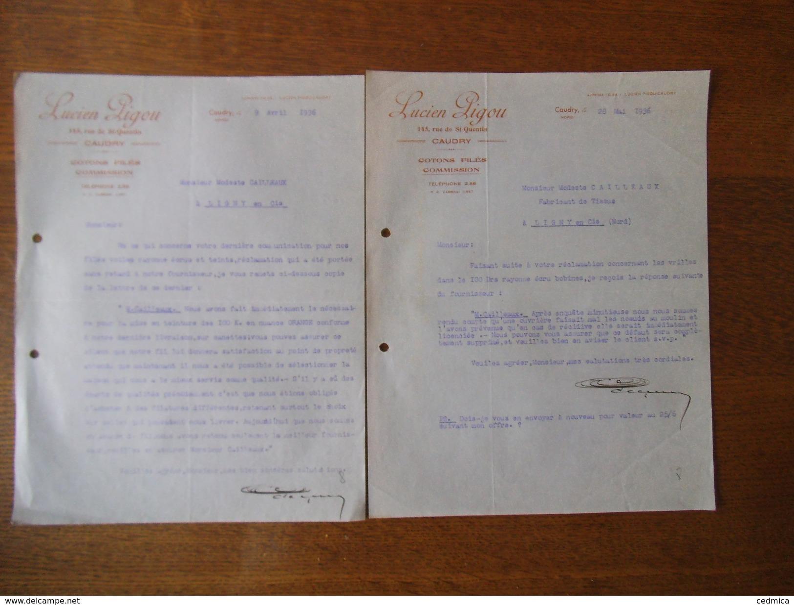 CAUDRY NORD LUCIEN LIGOU COTONS FILES COMMISSION 145 RUE DE St-QUENTIN COURRIERS DES 9 AVRIL ET 28 MAI 1936 - France