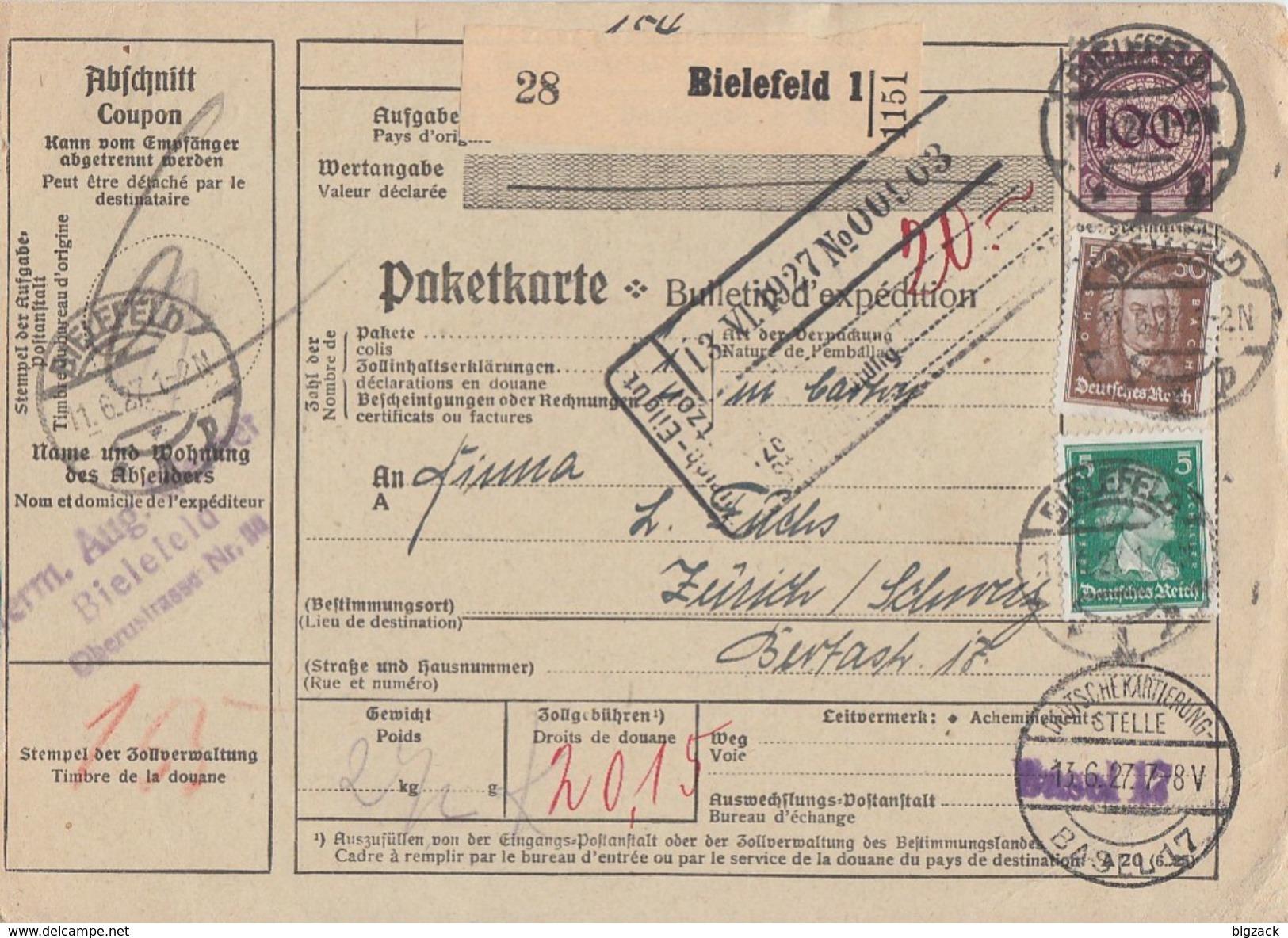 DR Paketkarte Mif Minr.343,387,396 Bielefeld 11.6.27 Gel. In Schweiz - Deutschland