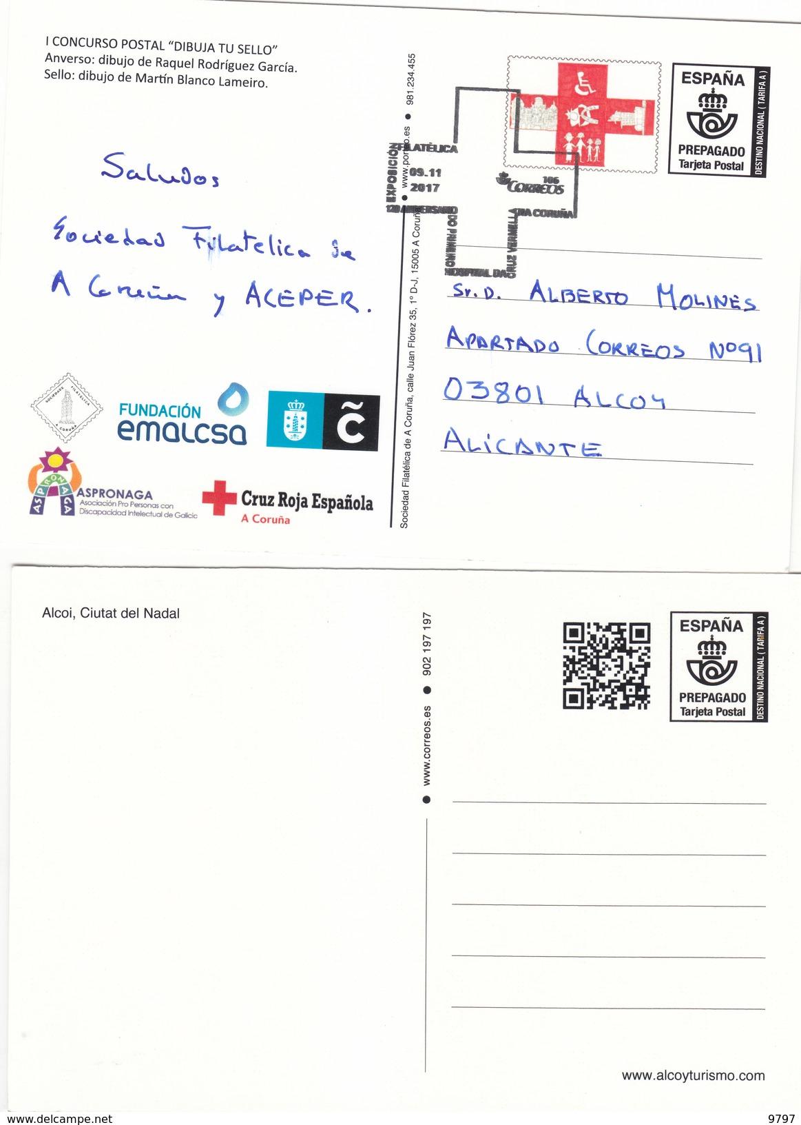 2 TARJETA POSTAL PREPAGO LA CORUÑA Y ALCOY 2017 - 6 TARJETAS ENTERO POSTAL NUEVAS 1988/1989 VER DESCRIPCION E IMAGEN. - 1931-....