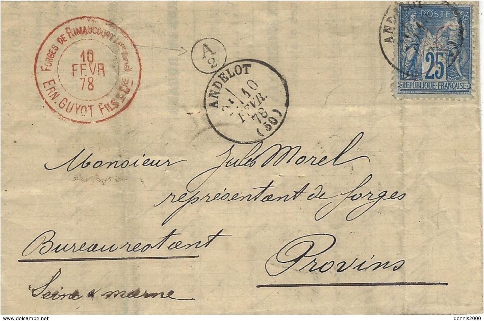 1878- Lettre De ANDELOT ( Hte Marne ) Cad T16 Sur 25 C Sage + A / 2  Boite Rurale Des Forges De Rimaucourt - 1877-1920: Période Semi Moderne