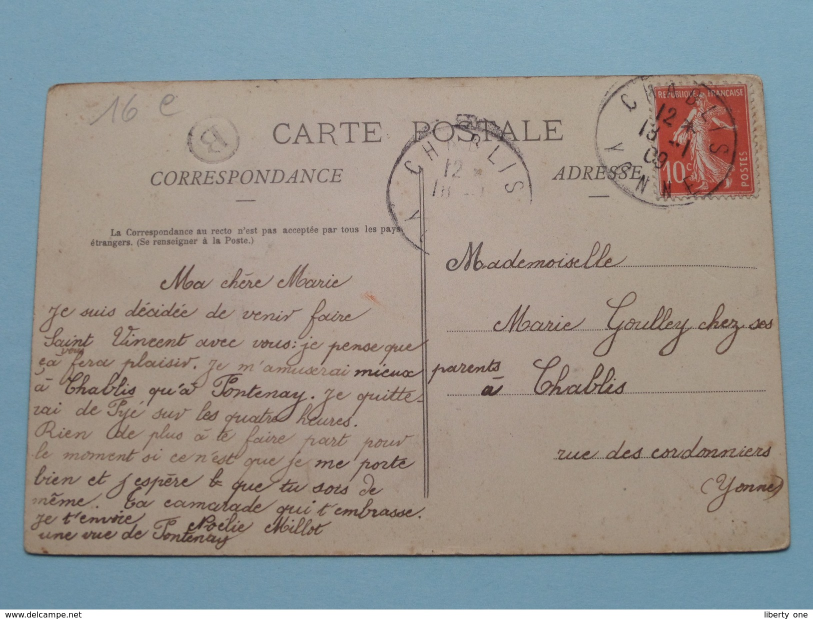 FONTENAY Près CHABLIS Vendanges 1908 () Anno 1909 ( Voir Photo ) ! - Autres Communes
