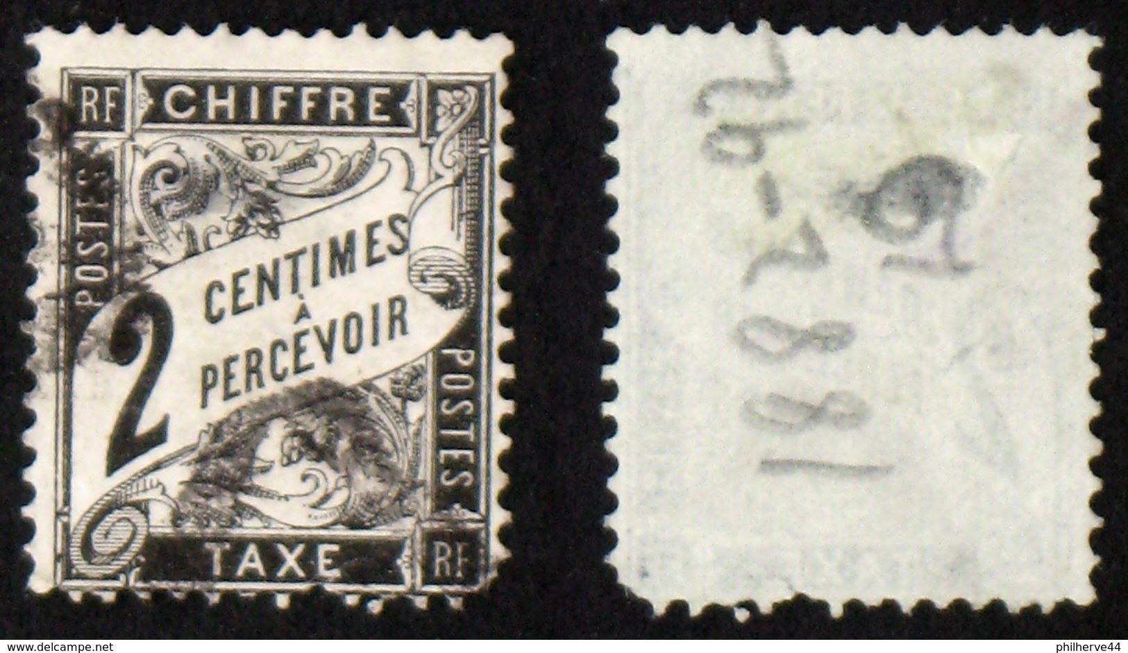 N° TAXE 11 DUVAL NOIR 2c Oblit Déf. Cote 30€ - 1859-1955 Oblitérés